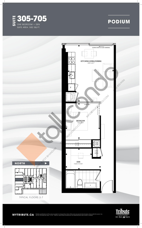 305-705 Floor Plan at Stanley Condos - 582 sq.ft