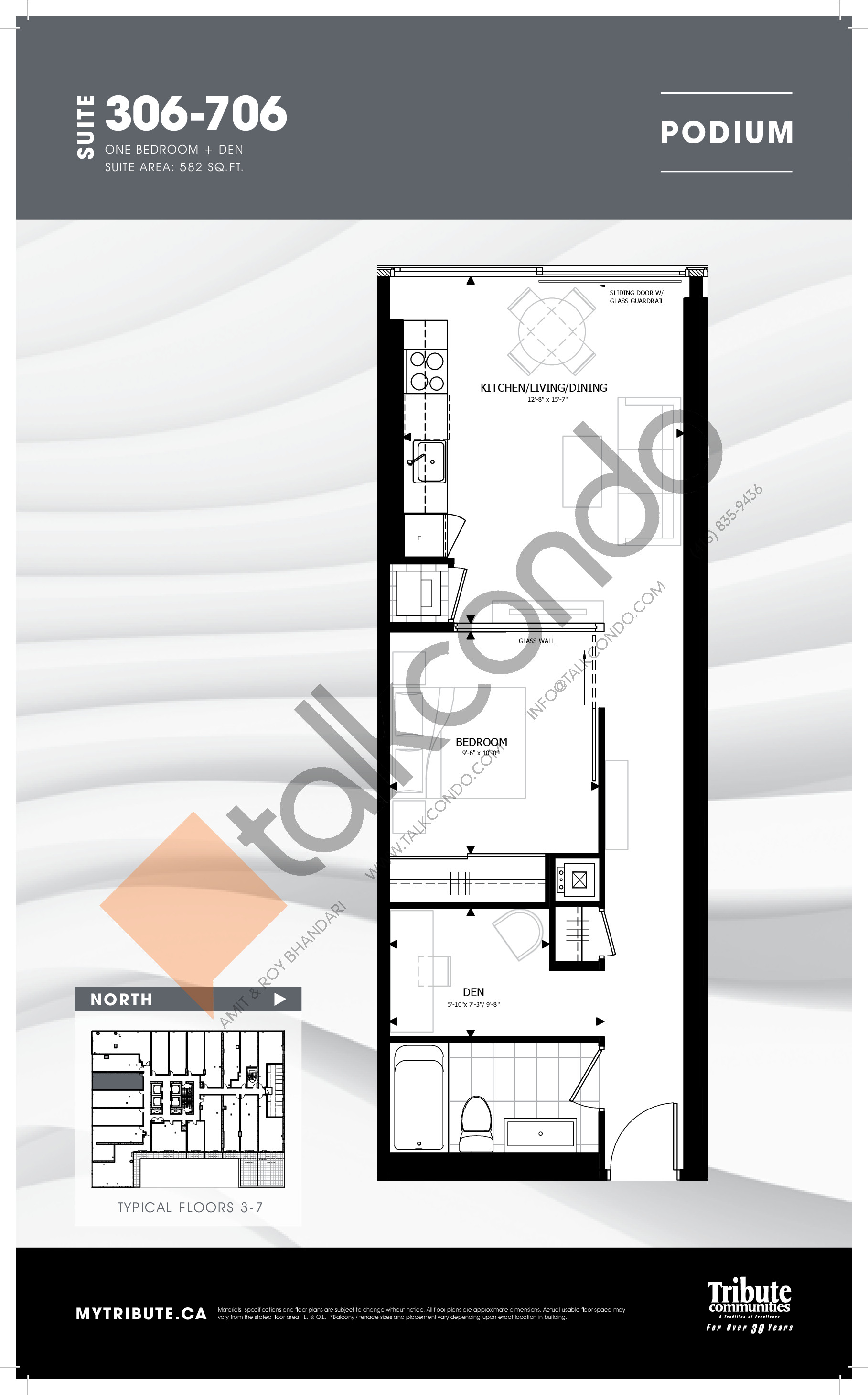 306-706 Floor Plan at Stanley Condos - 582 sq.ft