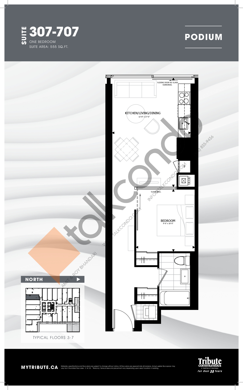 307-707 Floor Plan at Stanley Condos - 555 sq.ft