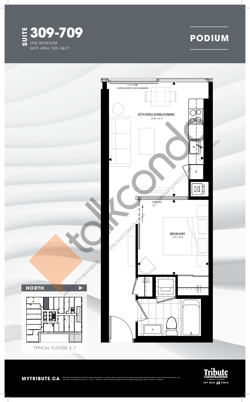 309-709 Floor Plan at Stanley Condos - 505 sq.ft