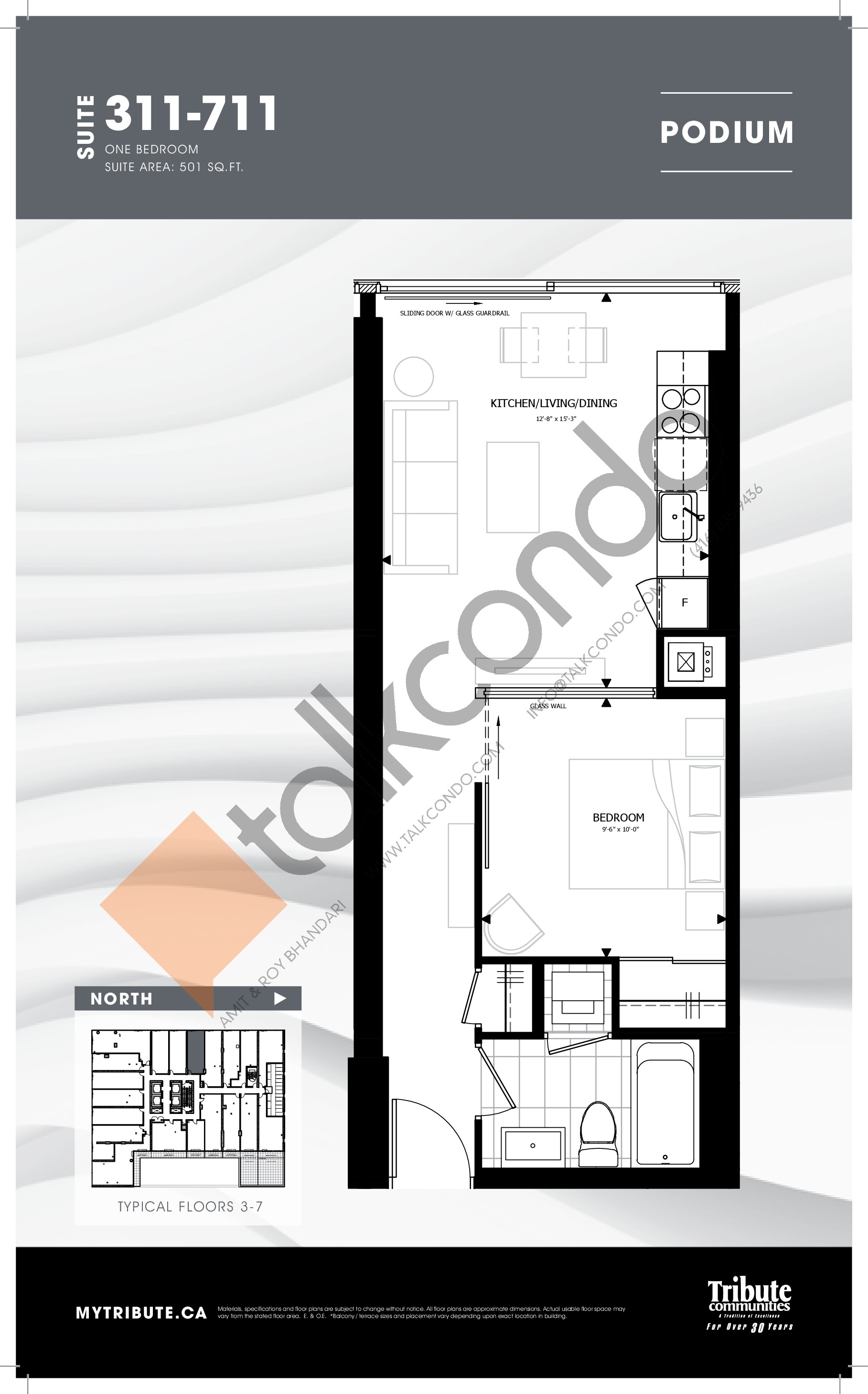 311-711 Floor Plan at Stanley Condos - 501 sq.ft
