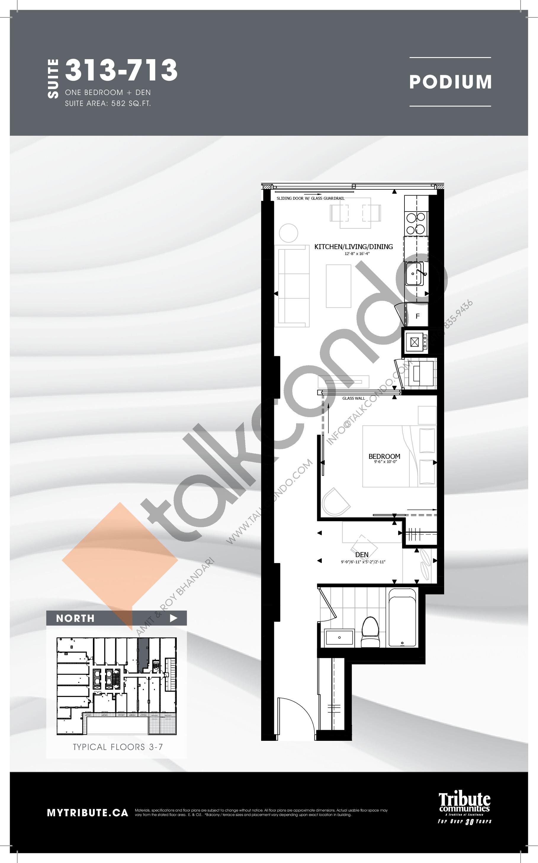 313-713 Floor Plan at Stanley Condos - 582 sq.ft