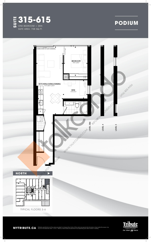 315-615 Floor Plan at Stanley Condos - 708 sq.ft