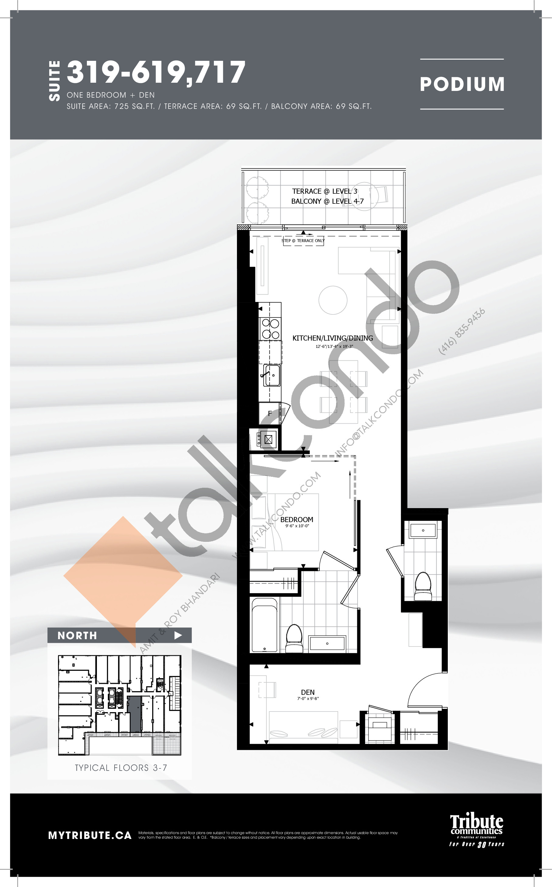 319-619 | 717 Floor Plan at Stanley Condos - 725 sq.ft