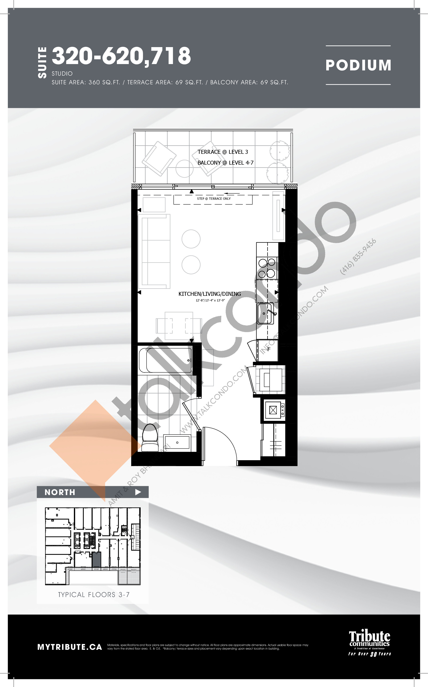 320-620 | 718 Floor Plan at Stanley Condos - 360 sq.ft