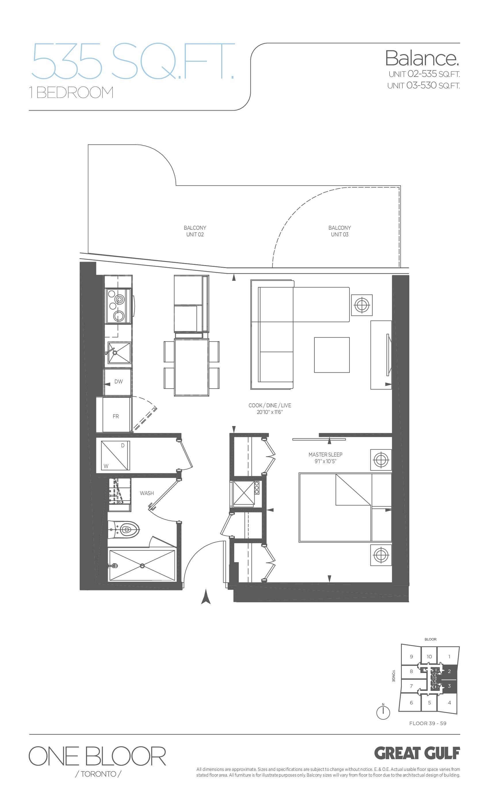 Balance Floor Plan at One Bloor Condos - 535 sq.ft