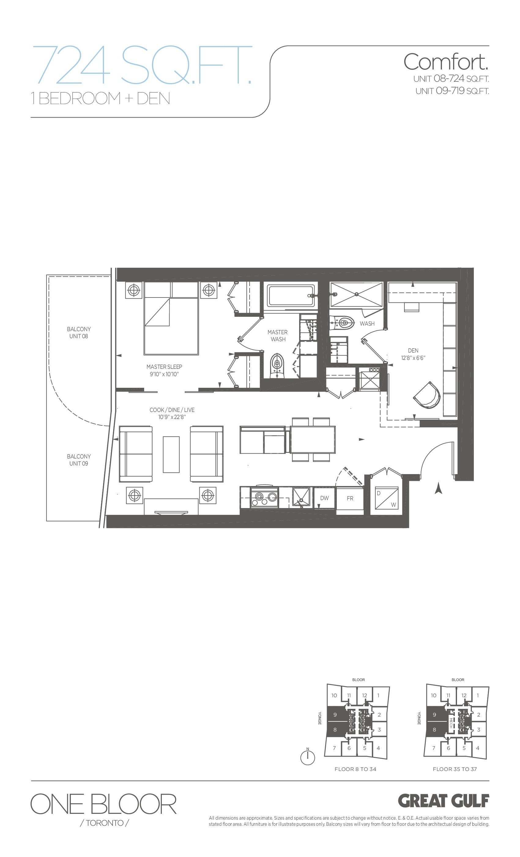 Comfort Floor Plan at One Bloor Condos - 724 sq.ft