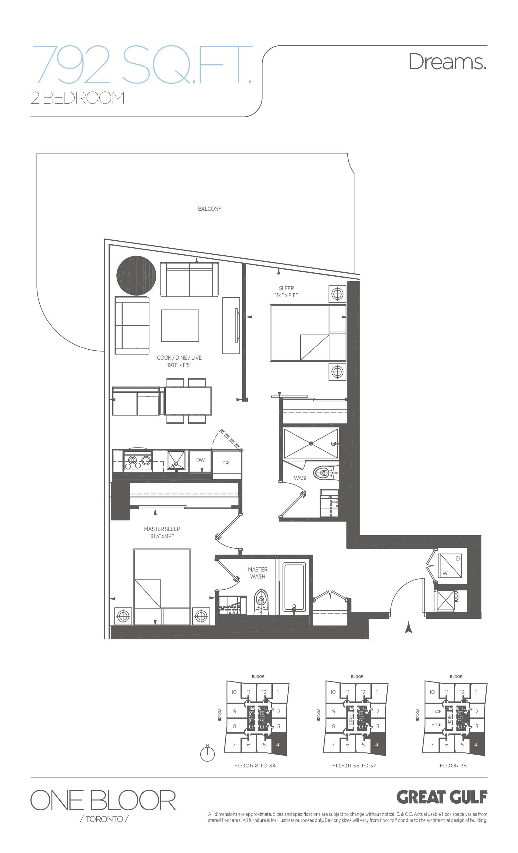 Dreams Floor Plan at One Bloor Condos - 792 sq.ft