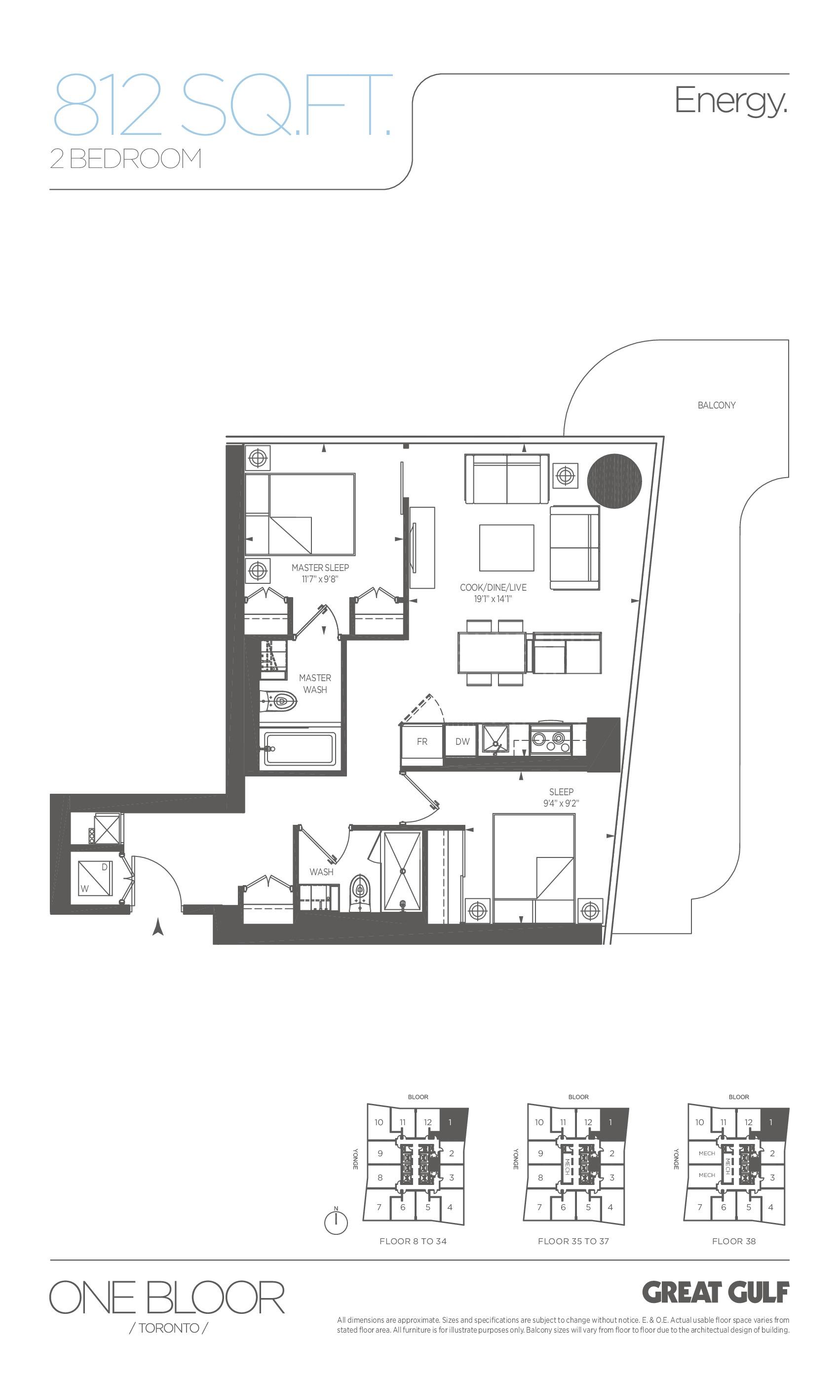 Energy Floor Plan at One Bloor Condos - 812 sq.ft