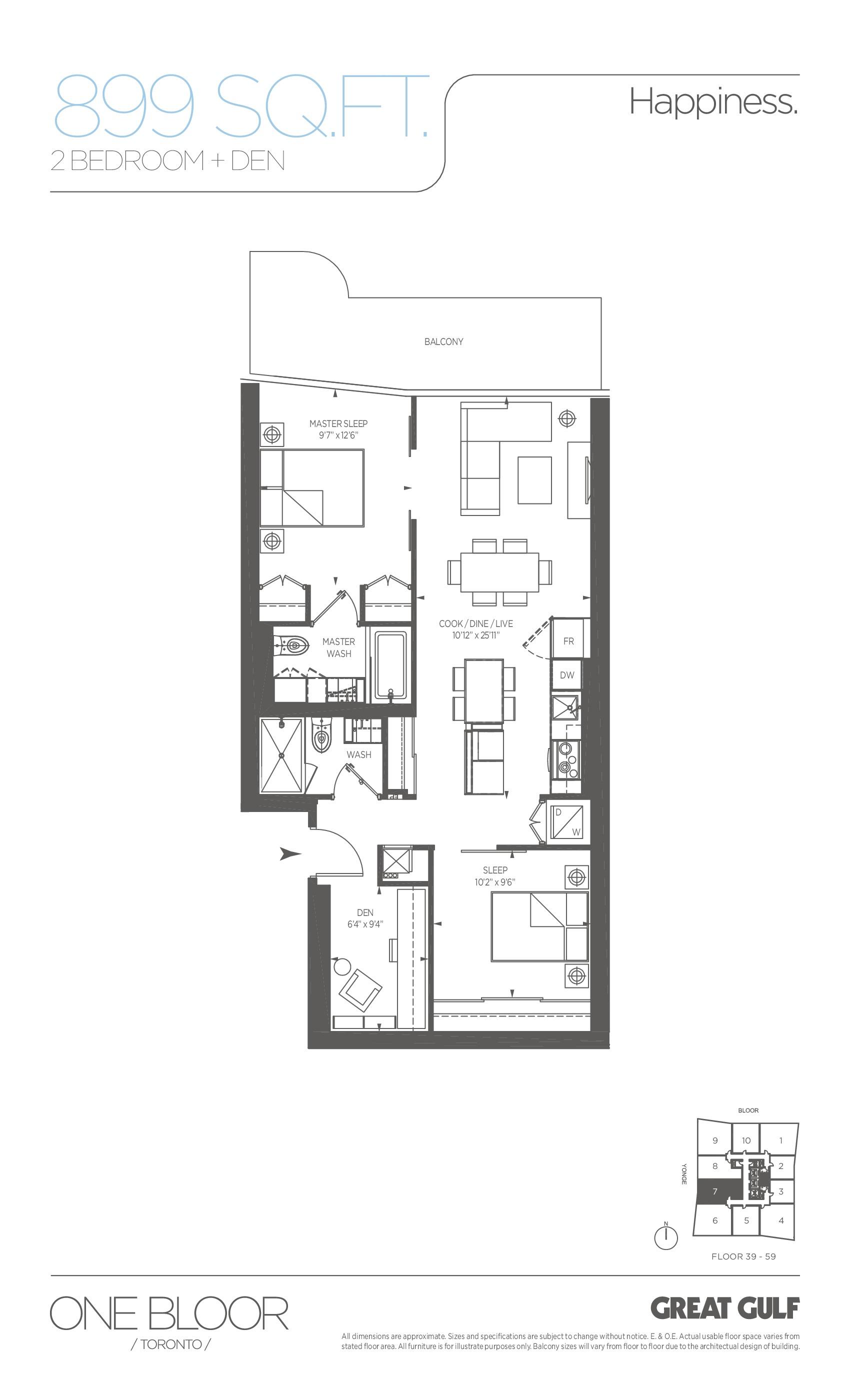 Happiness Floor Plan at One Bloor Condos - 899 sq.ft