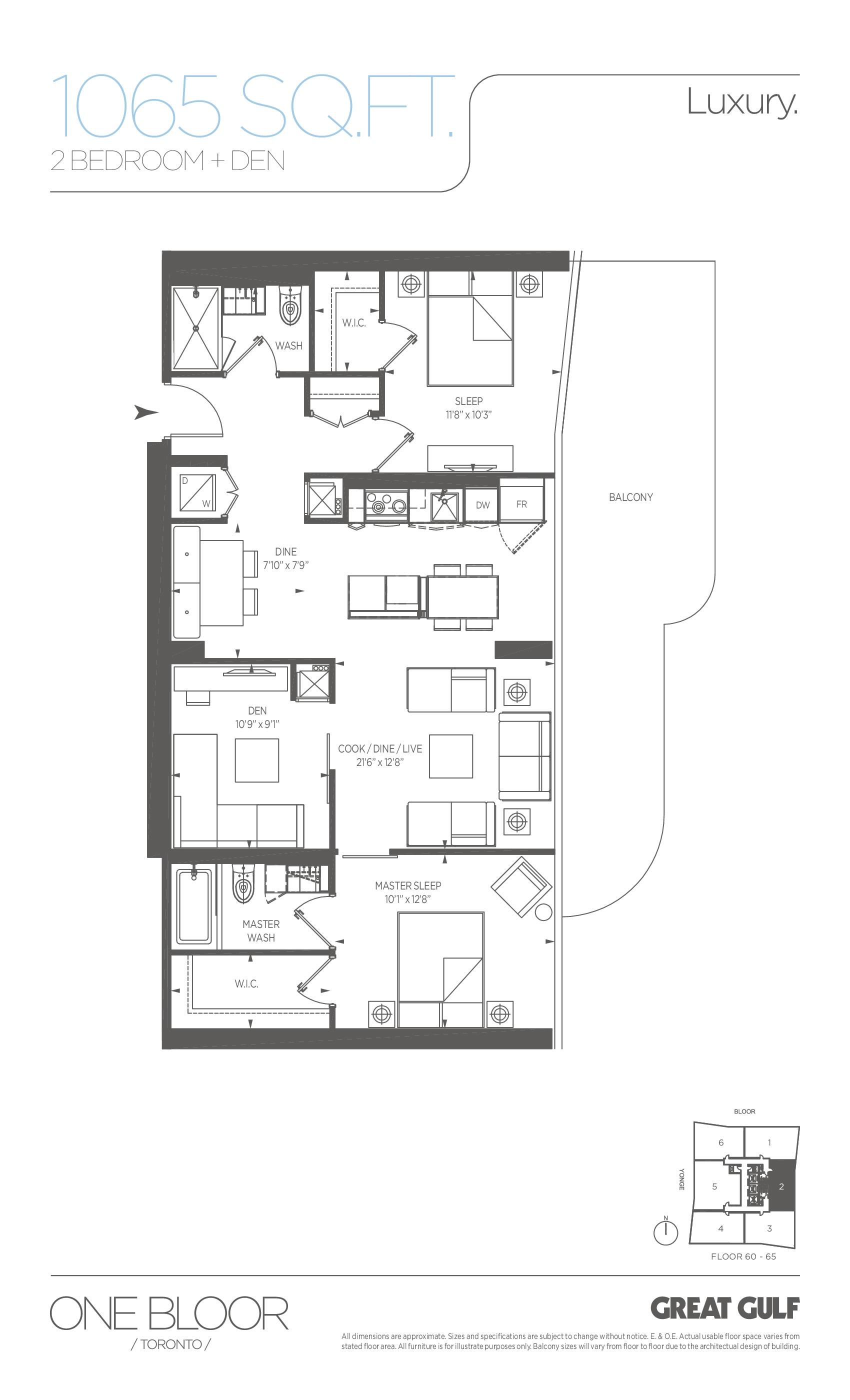 Luxury Floor Plan at One Bloor Condos - 1065 sq.ft