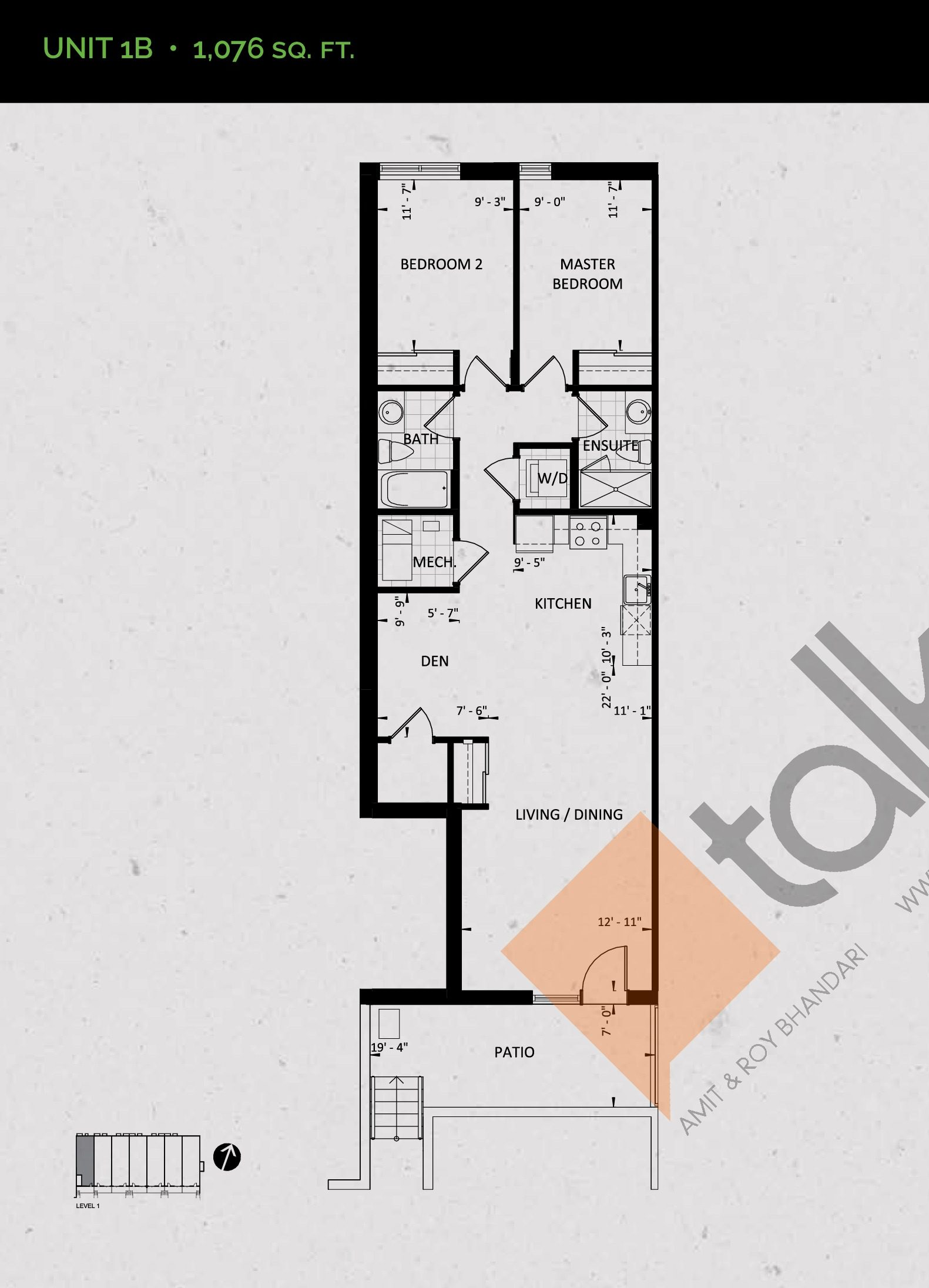 Unit 1B (Garden Collection) Floor Plan at Towns at Rouge Valley - 1076 sq.ft