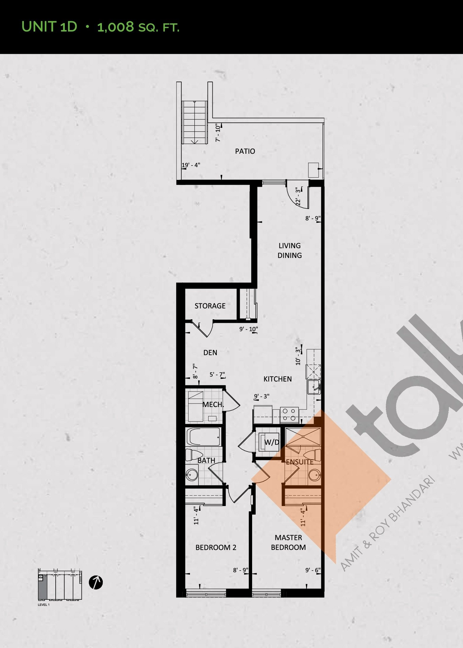 Unit 1D (Garden Collection) Floor Plan at Towns at Rouge Valley - 1008 sq.ft