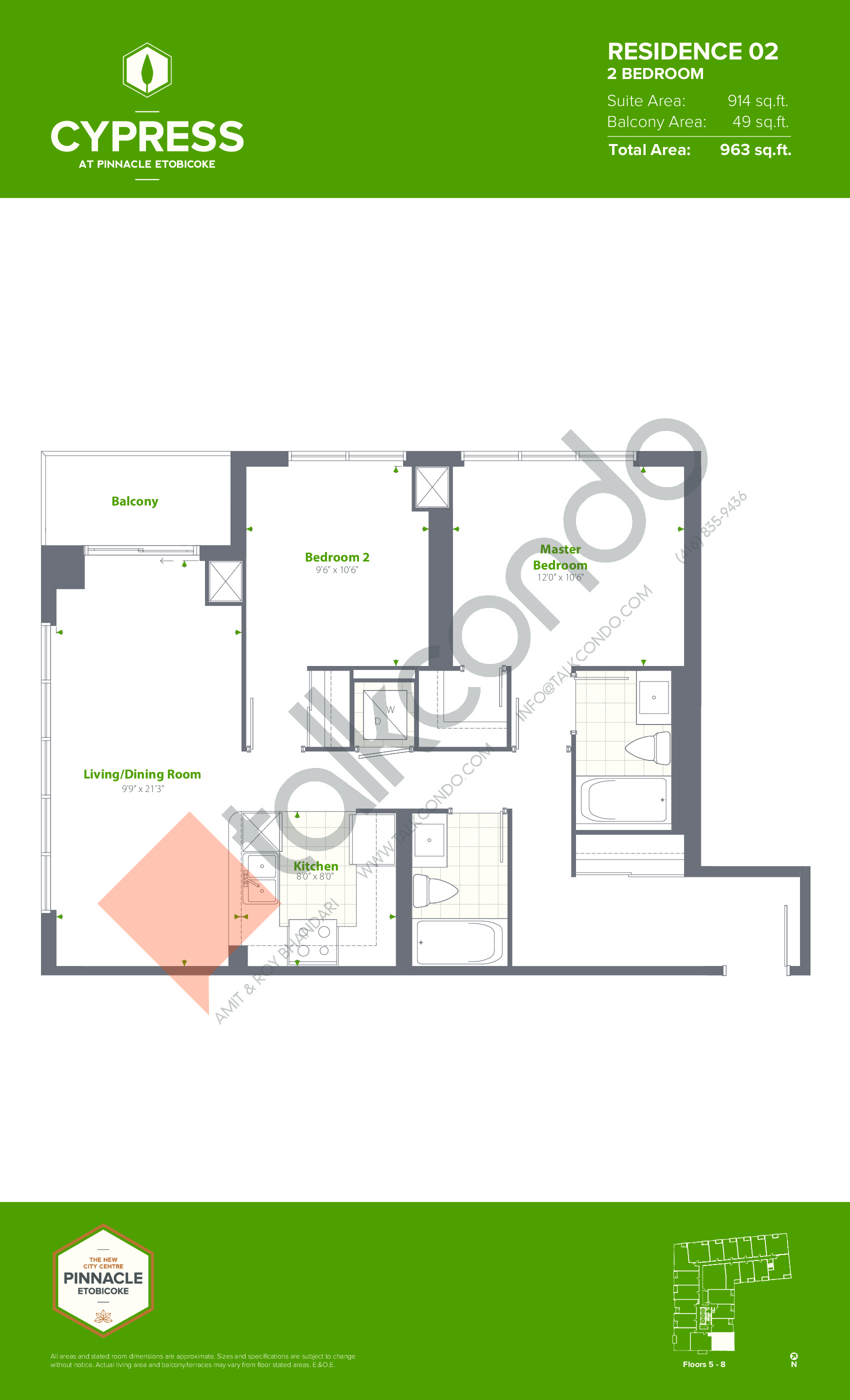 Residence 02 (Podium) Floor Plan at Cypress at Pinnacle Etobicoke - 914 sq.ft