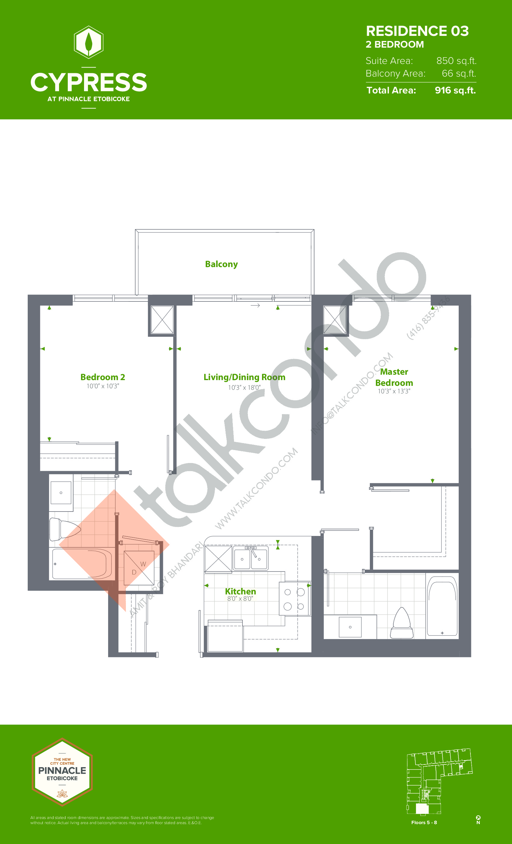 Residence 03 (Podium) Floor Plan at Cypress at Pinnacle Etobicoke - 850 sq.ft