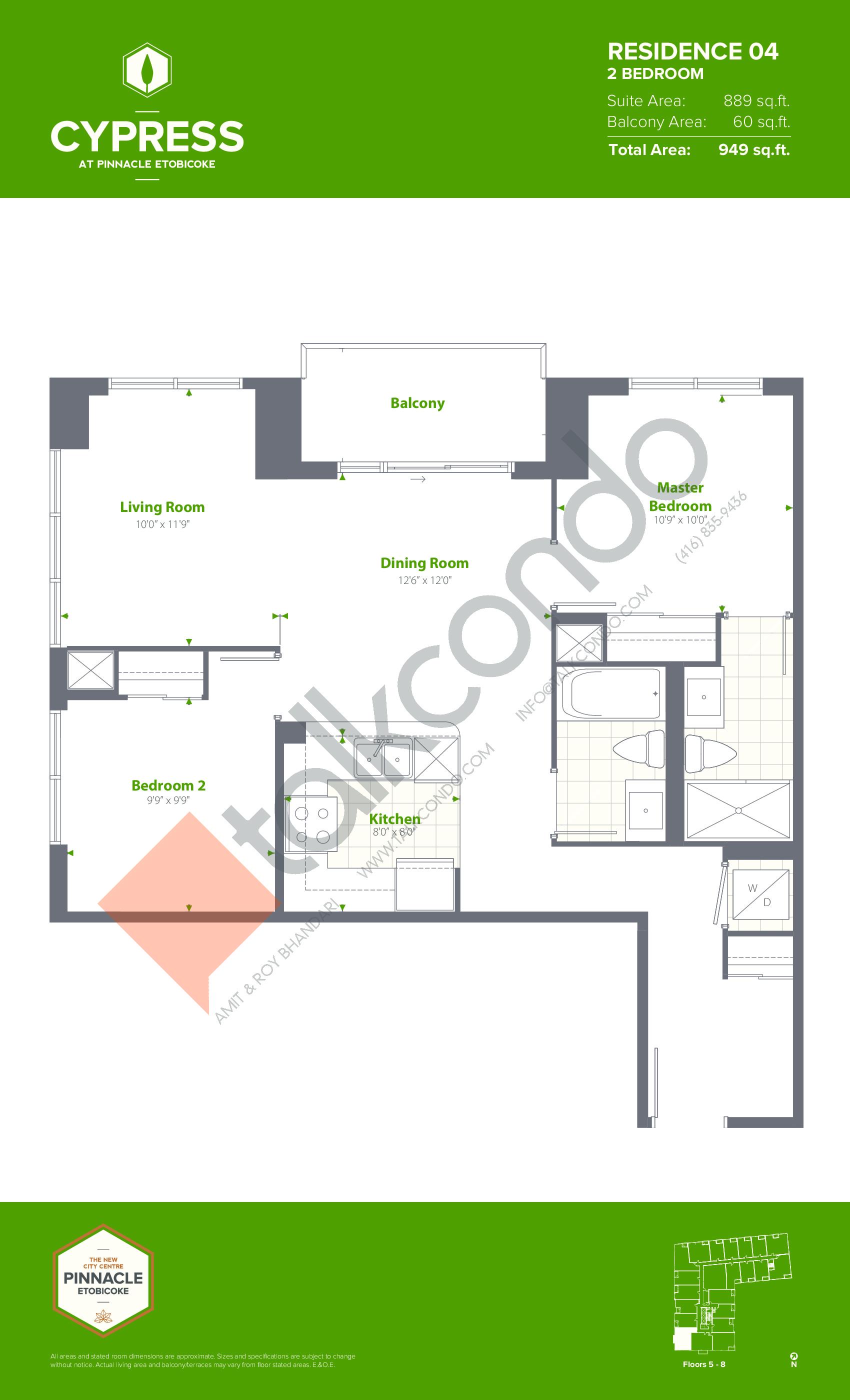 Residence 04 (Podium) Floor Plan at Cypress at Pinnacle Etobicoke - 889 sq.ft