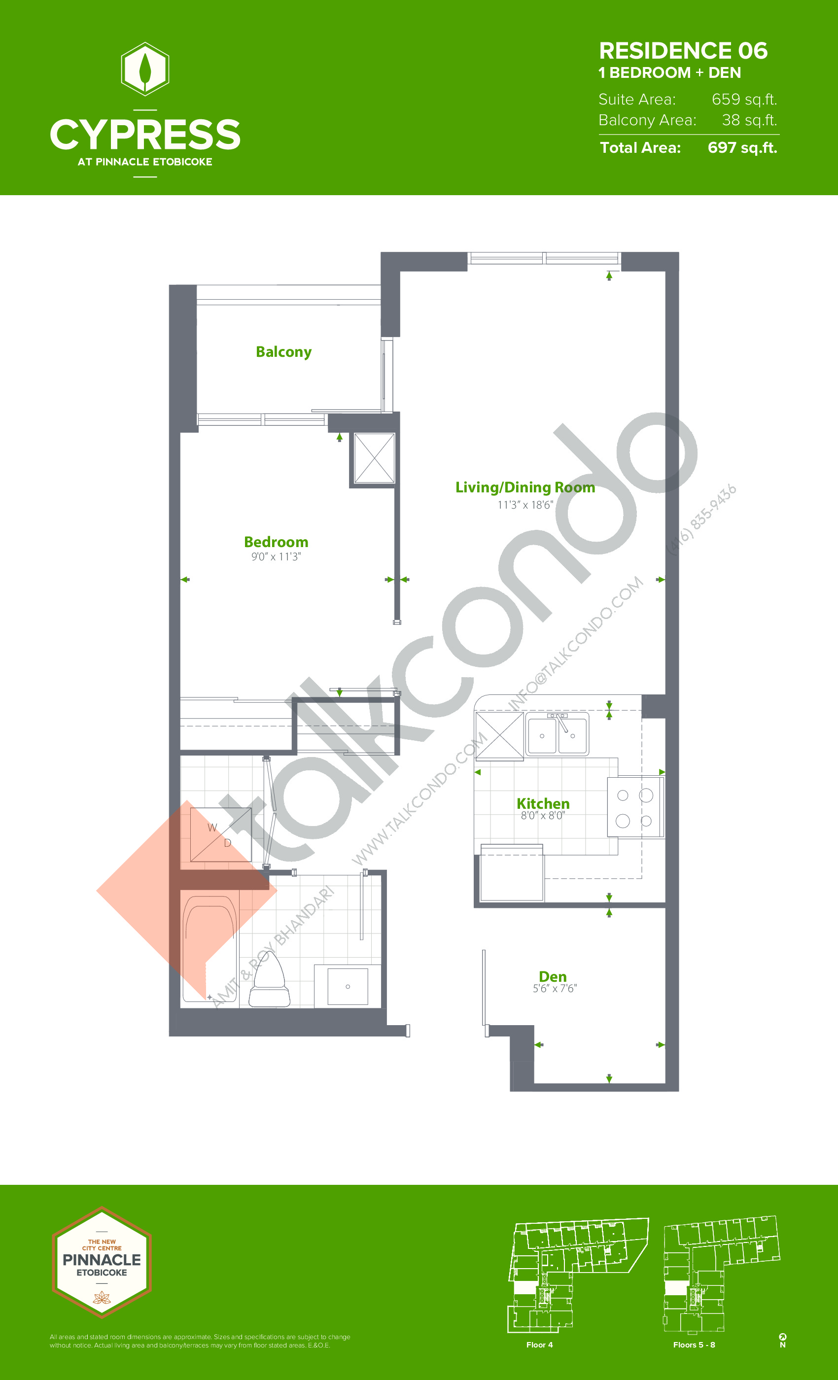 Residence 06 (Podium) Floor Plan at Cypress at Pinnacle Etobicoke - 659 sq.ft