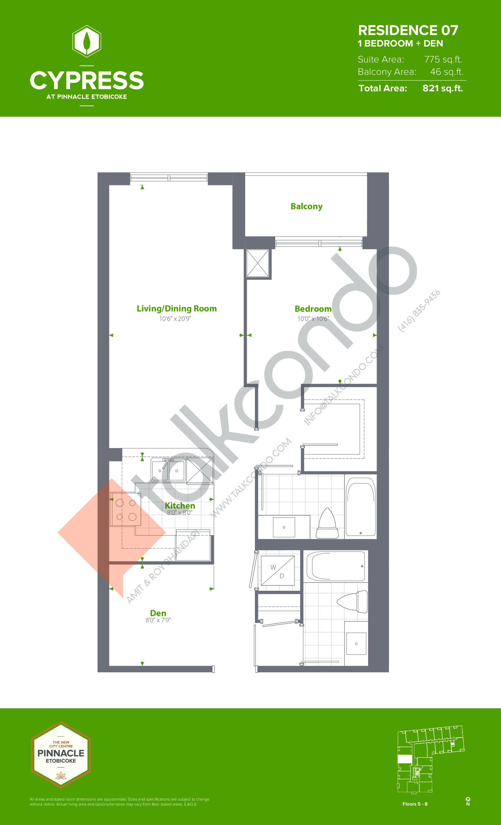Residence 07 (Podium) Floor Plan at Cypress at Pinnacle Etobicoke - 775 sq.ft
