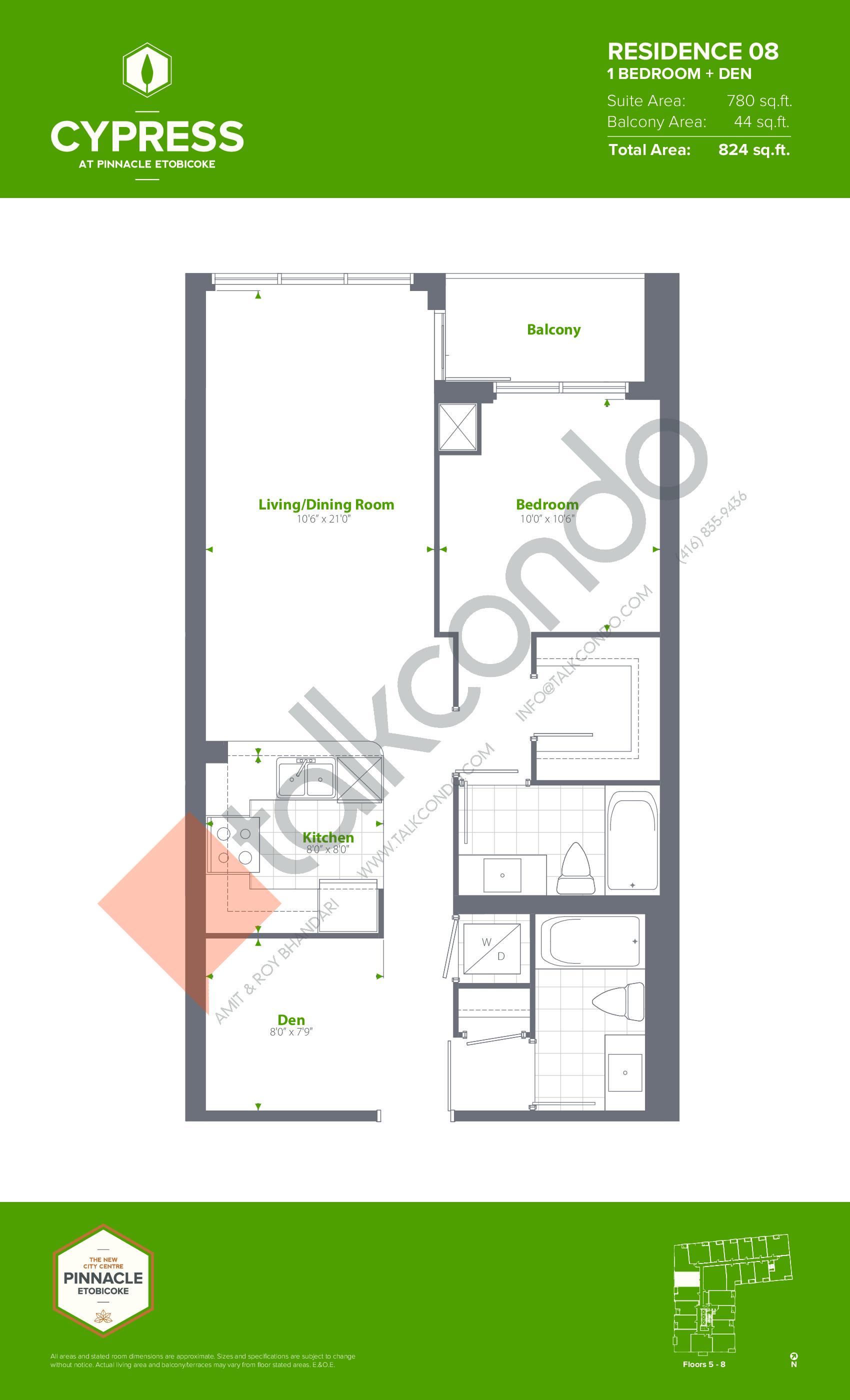 Residence 08 (Podium) Floor Plan at Cypress at Pinnacle Etobicoke - 780 sq.ft