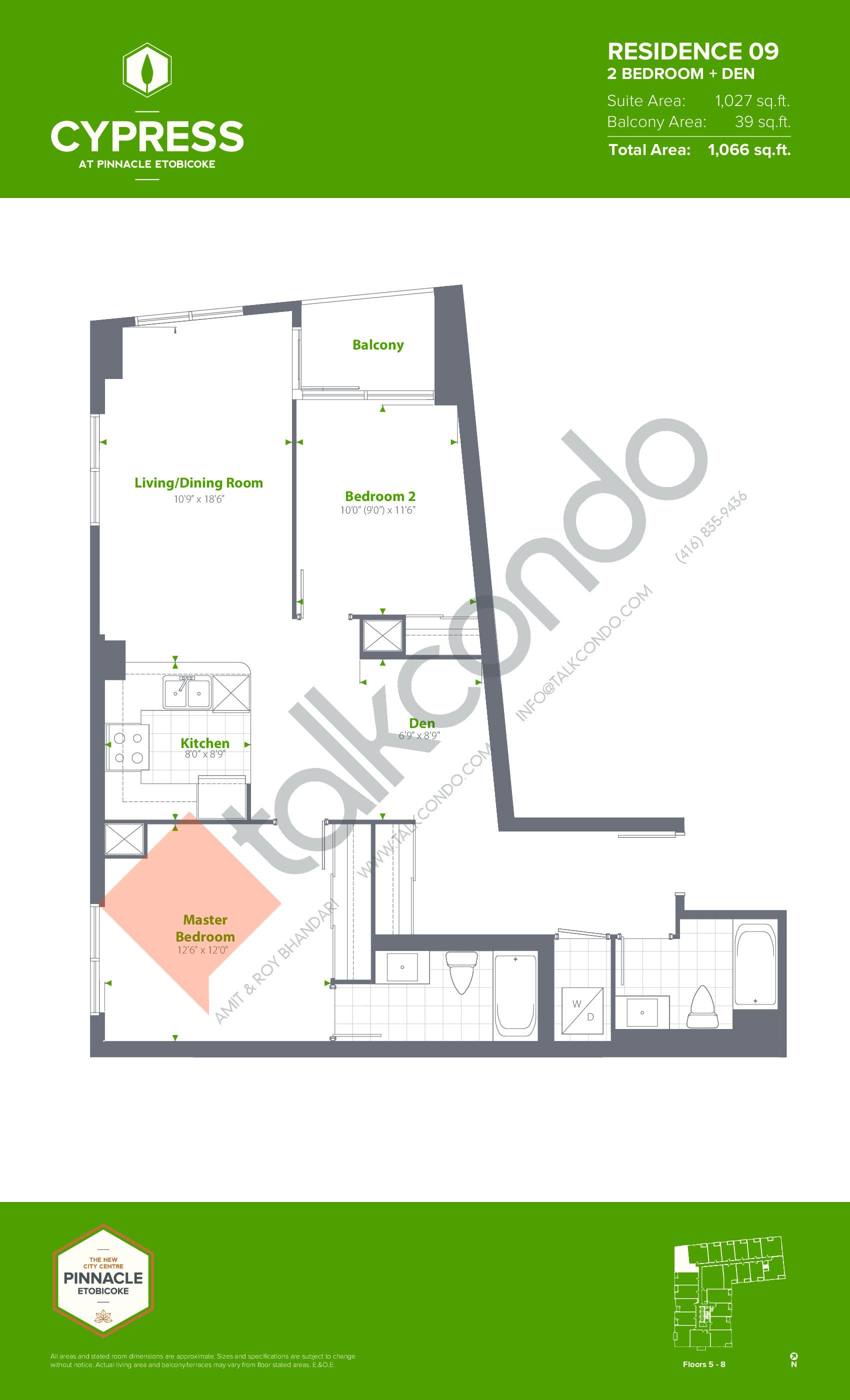 Residence 09 (Podium) Floor Plan at Cypress at Pinnacle Etobicoke - 1027 sq.ft