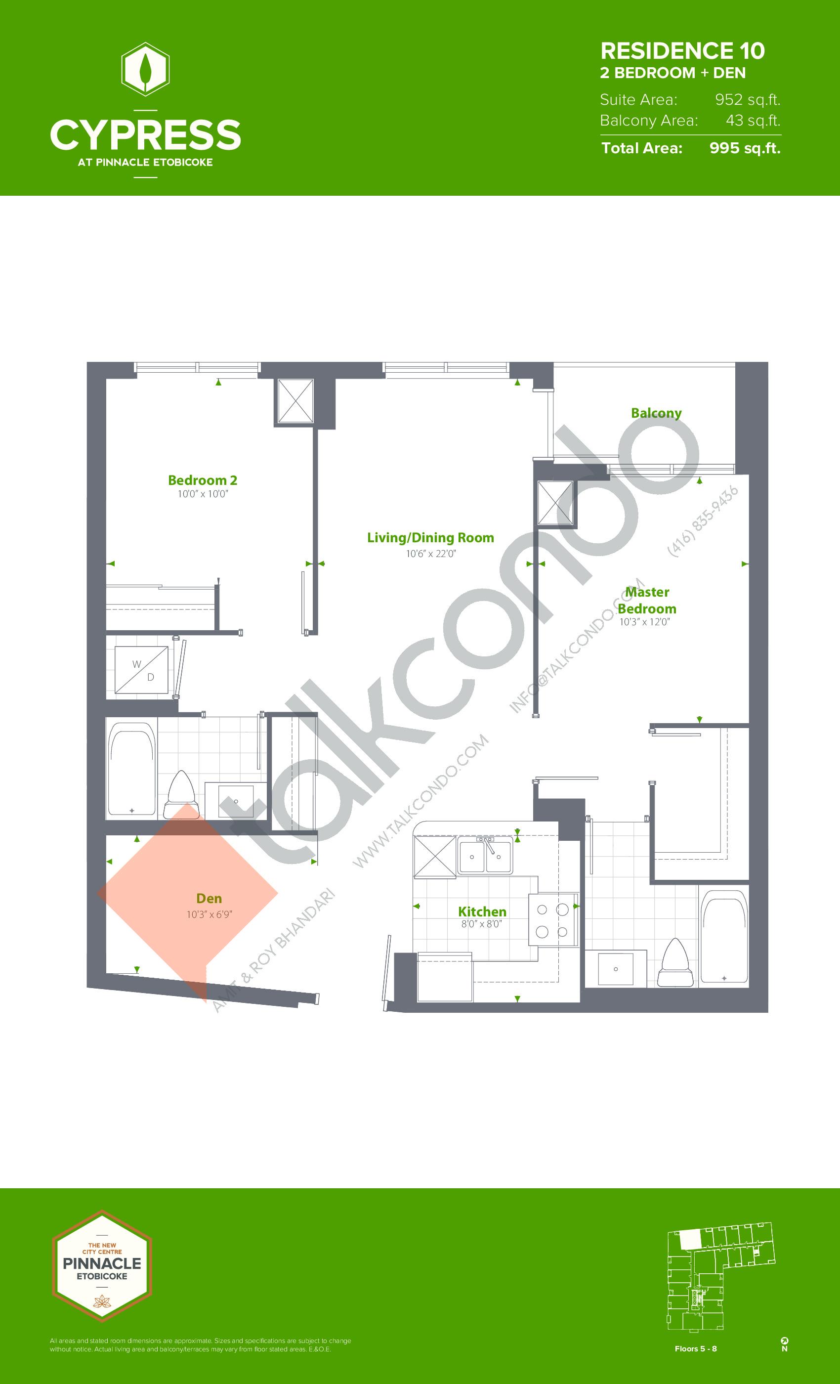 Residence 10 (Podium) Floor Plan at Cypress at Pinnacle Etobicoke - 952 sq.ft
