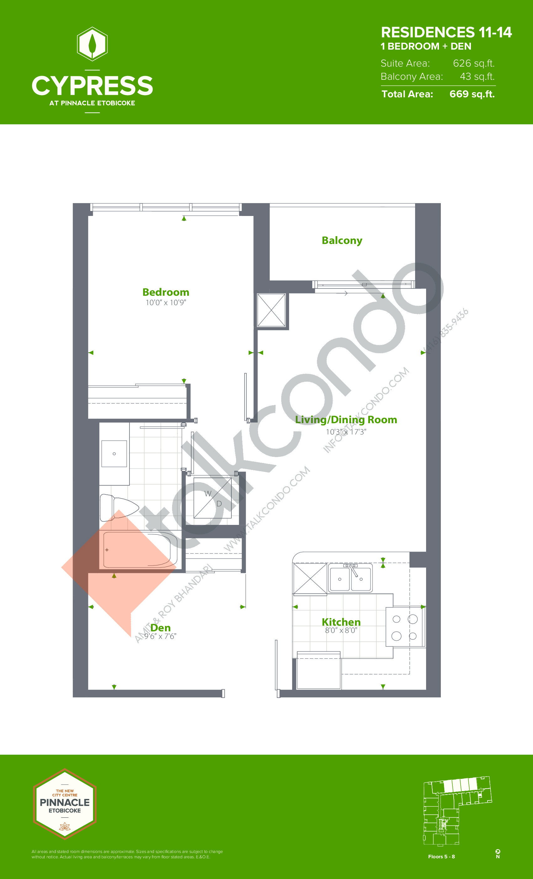 Residences 11-14 (Podium) Floor Plan at Cypress at Pinnacle Etobicoke - 626 sq.ft