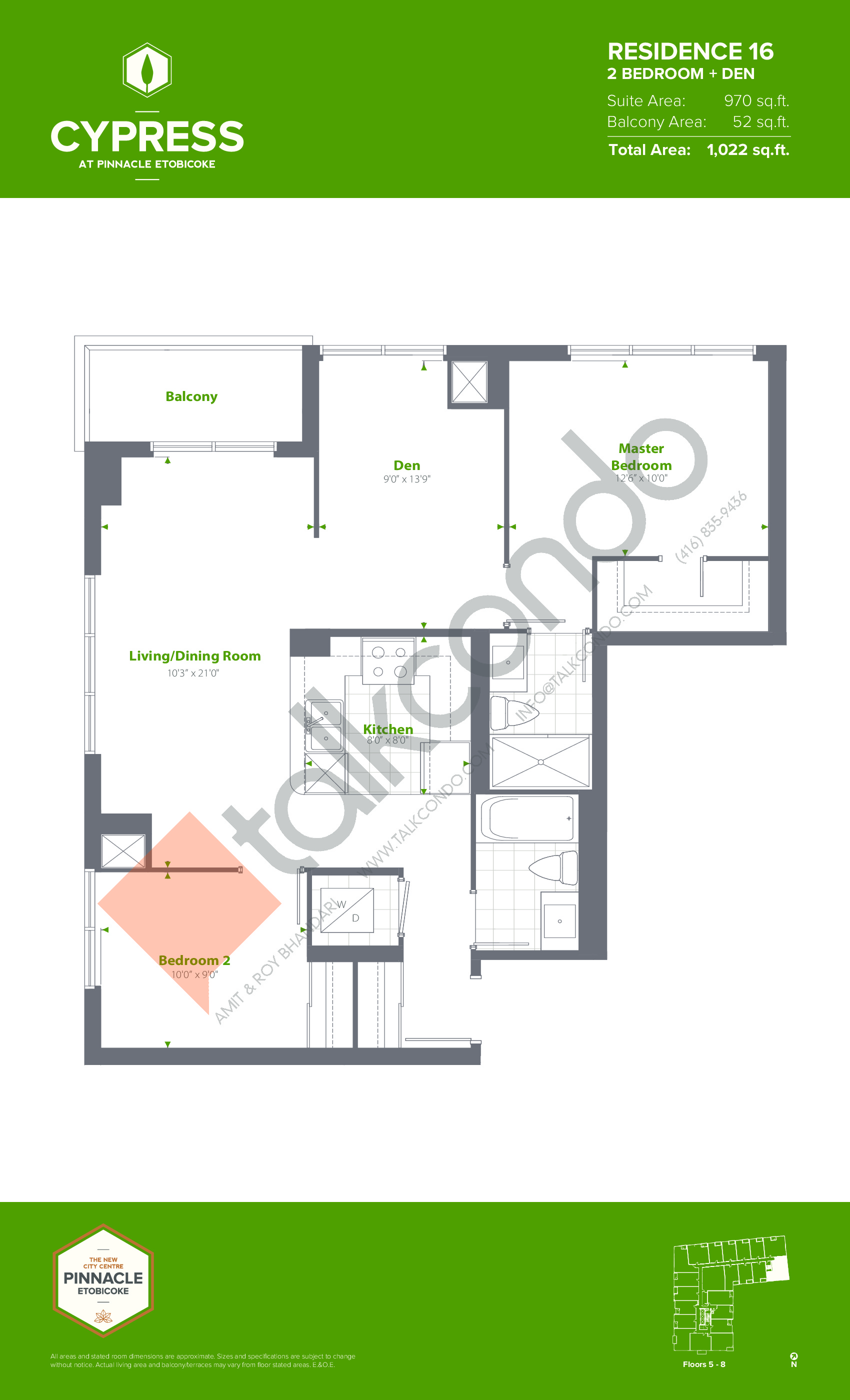 Residence 16 (Podium) Floor Plan at Cypress at Pinnacle Etobicoke - 970 sq.ft