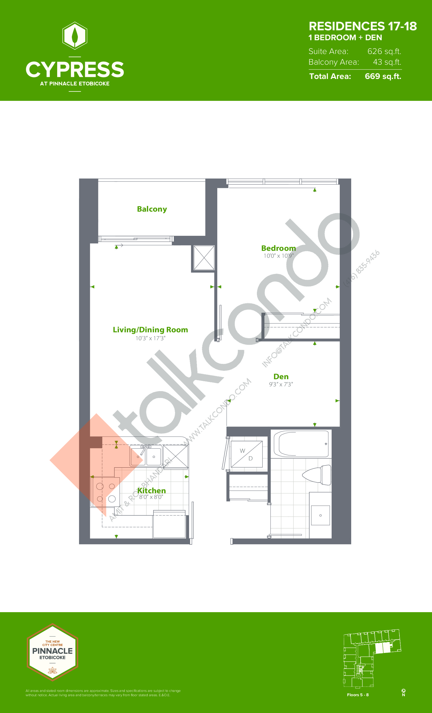 Residences 17-18 (Podium) Floor Plan at Cypress at Pinnacle Etobicoke - 626 sq.ft
