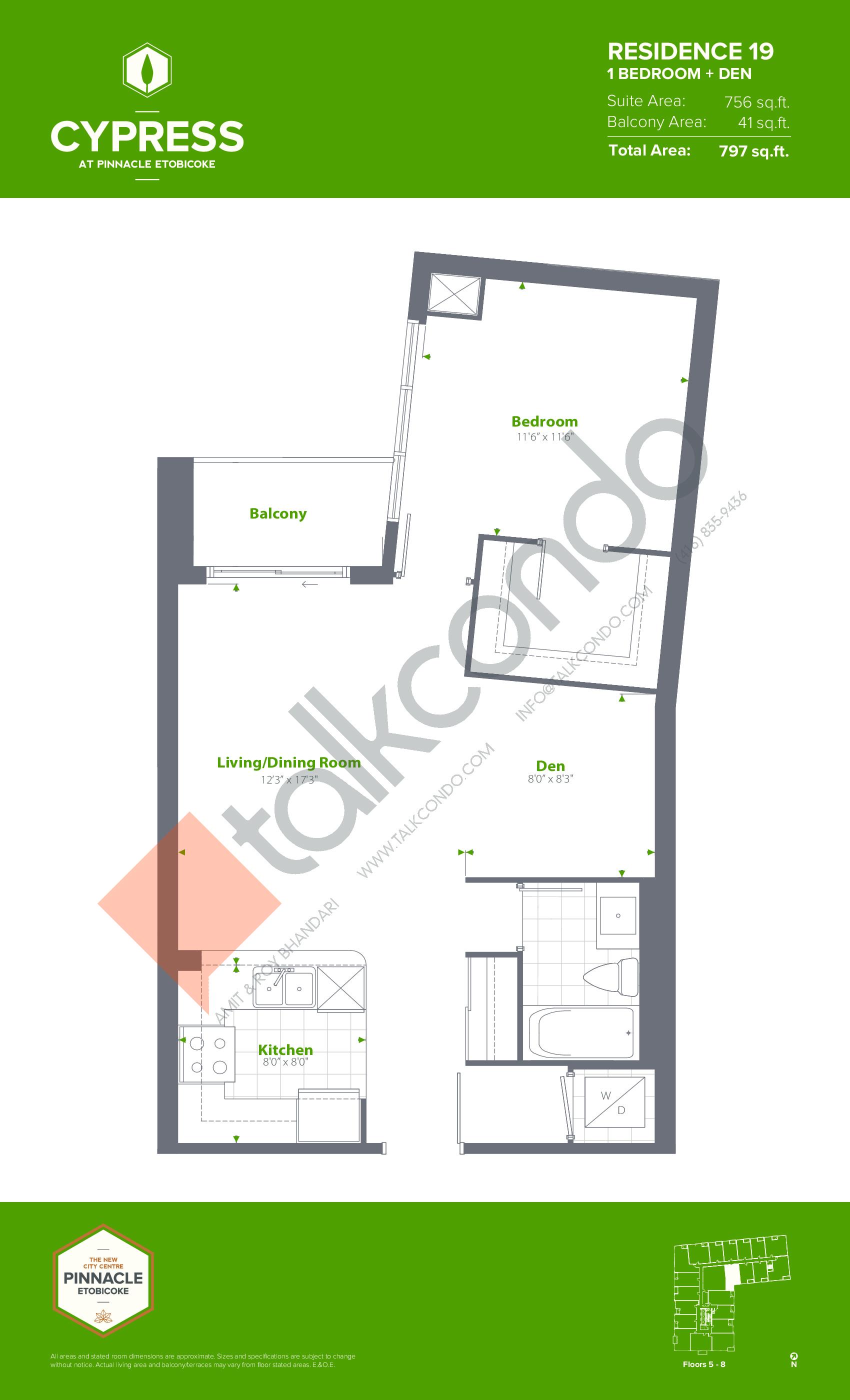 Residence 19 (Podium) Floor Plan at Cypress at Pinnacle Etobicoke - 756 sq.ft