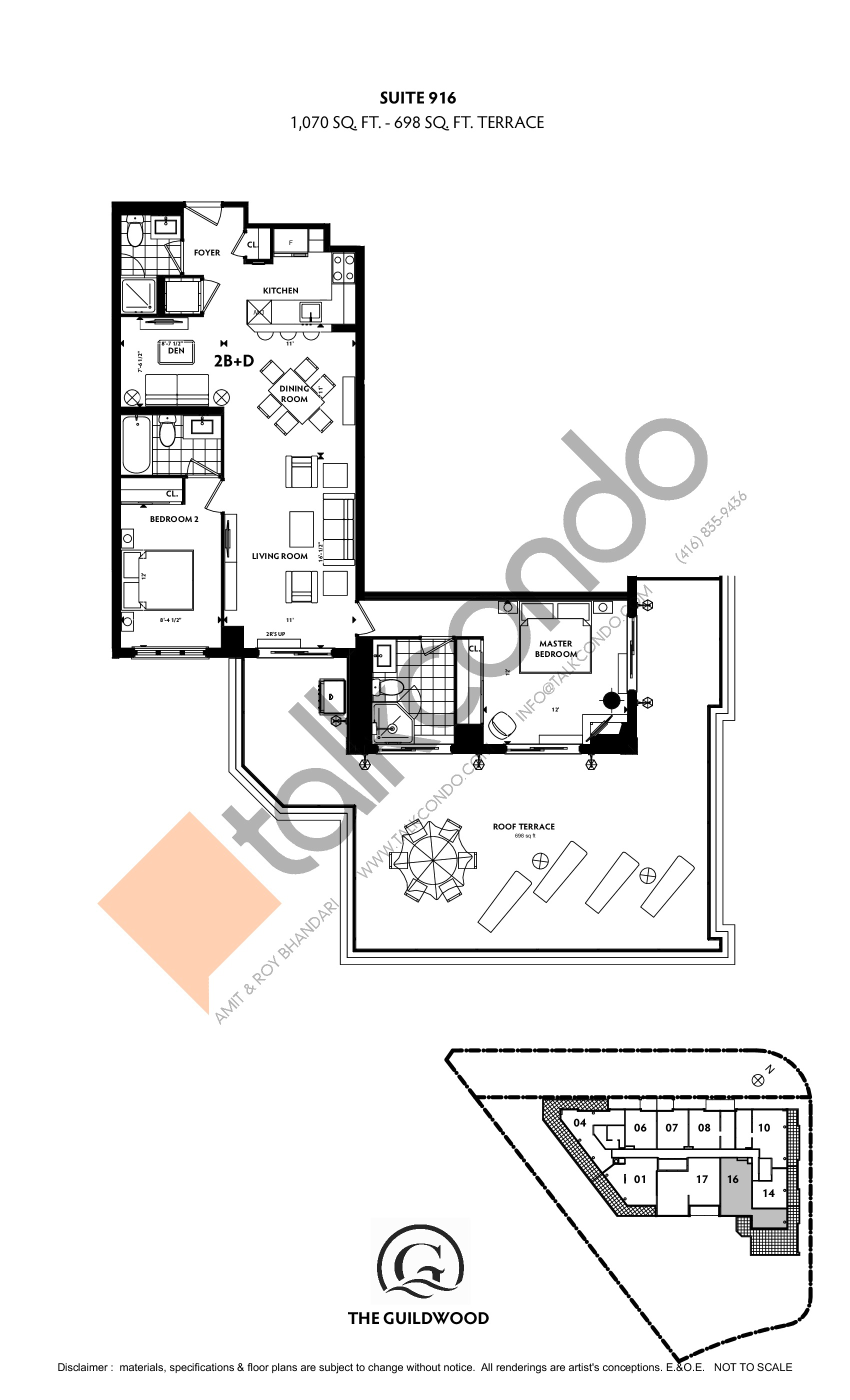 Suite 916 Floor Plan at Guildwood Condos - 1070 sq.ft
