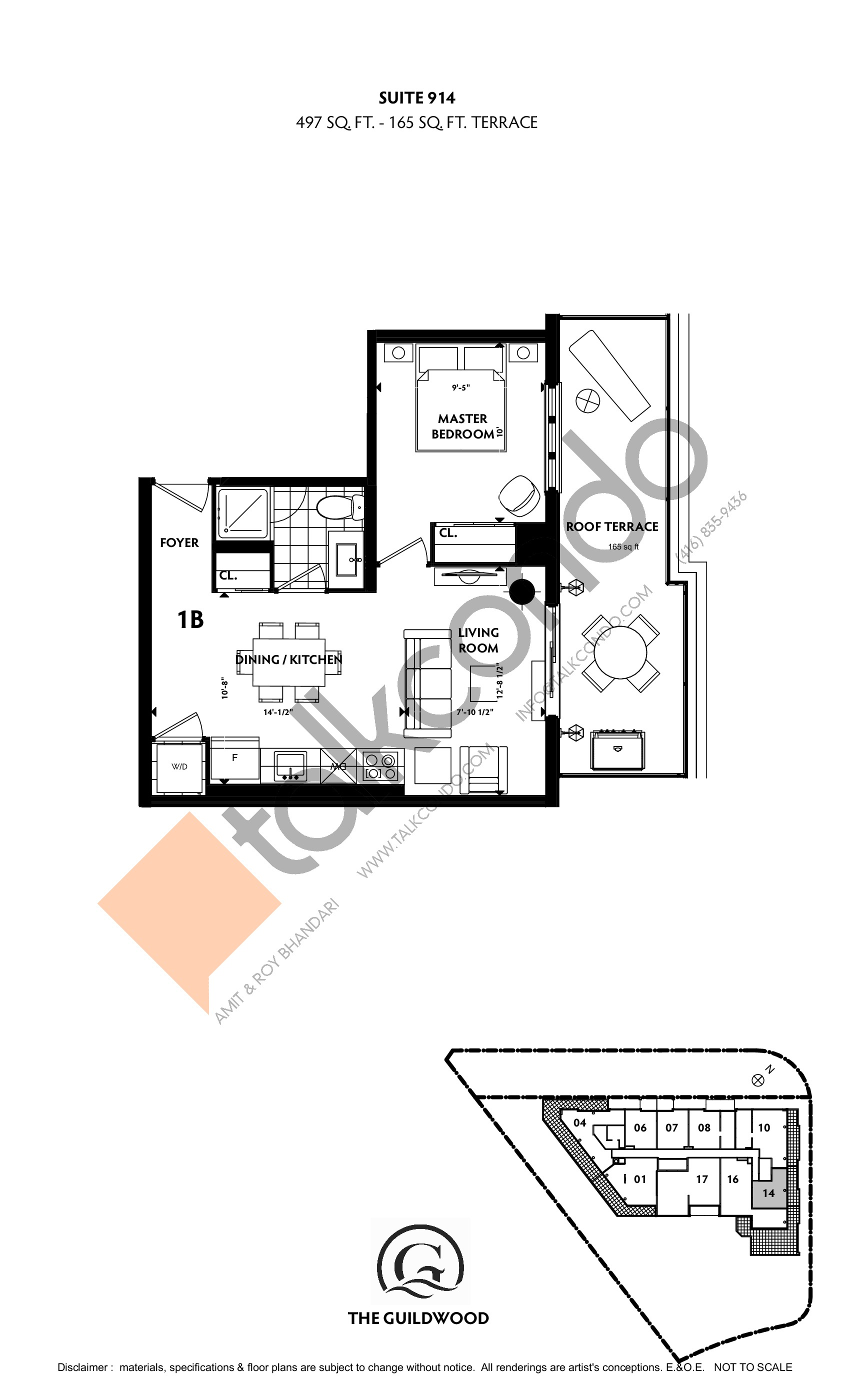 Suite 914 Floor Plan at Guildwood Condos - 497 sq.ft