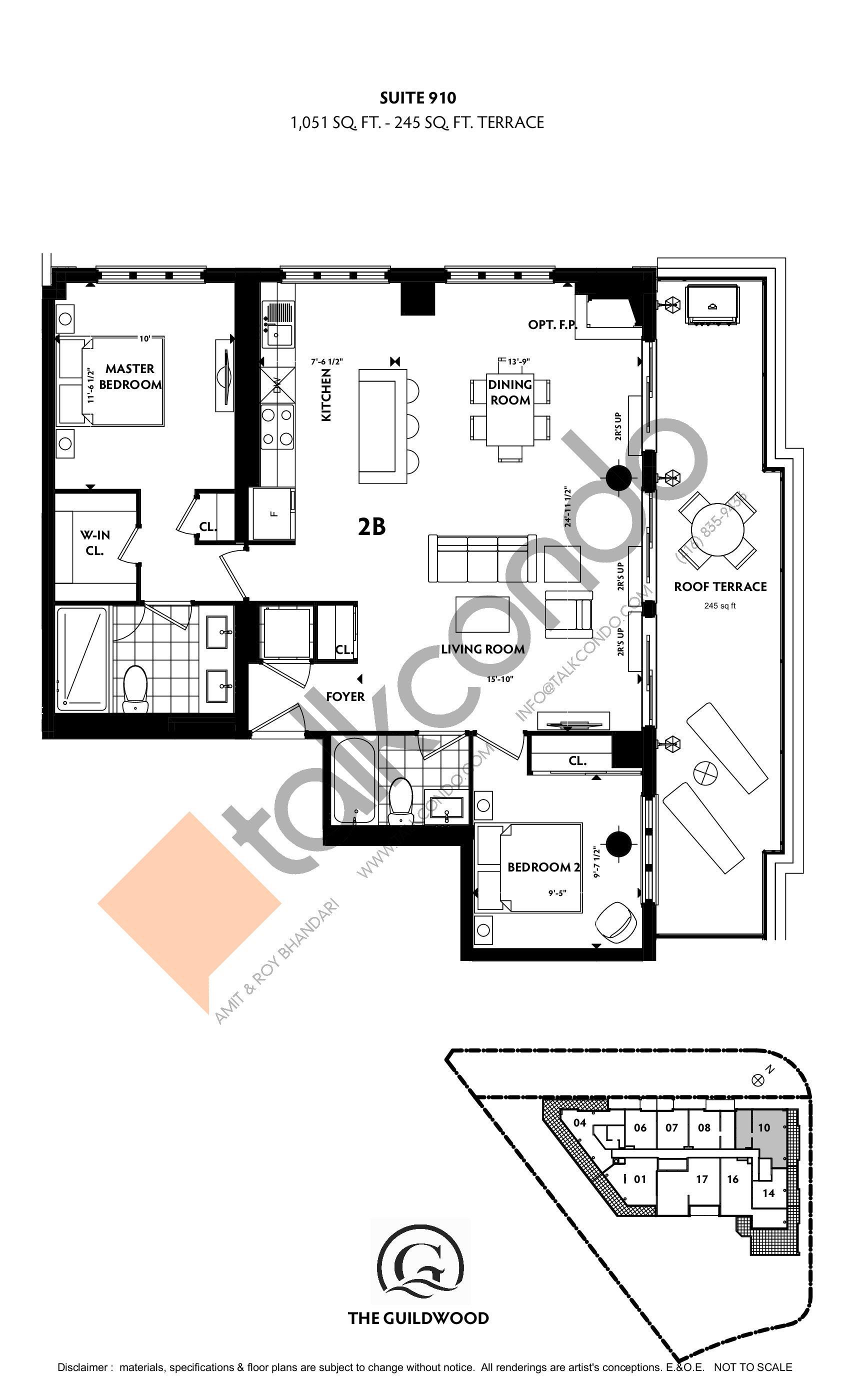 Suite 910 Floor Plan at Guildwood Condos - 1051 sq.ft