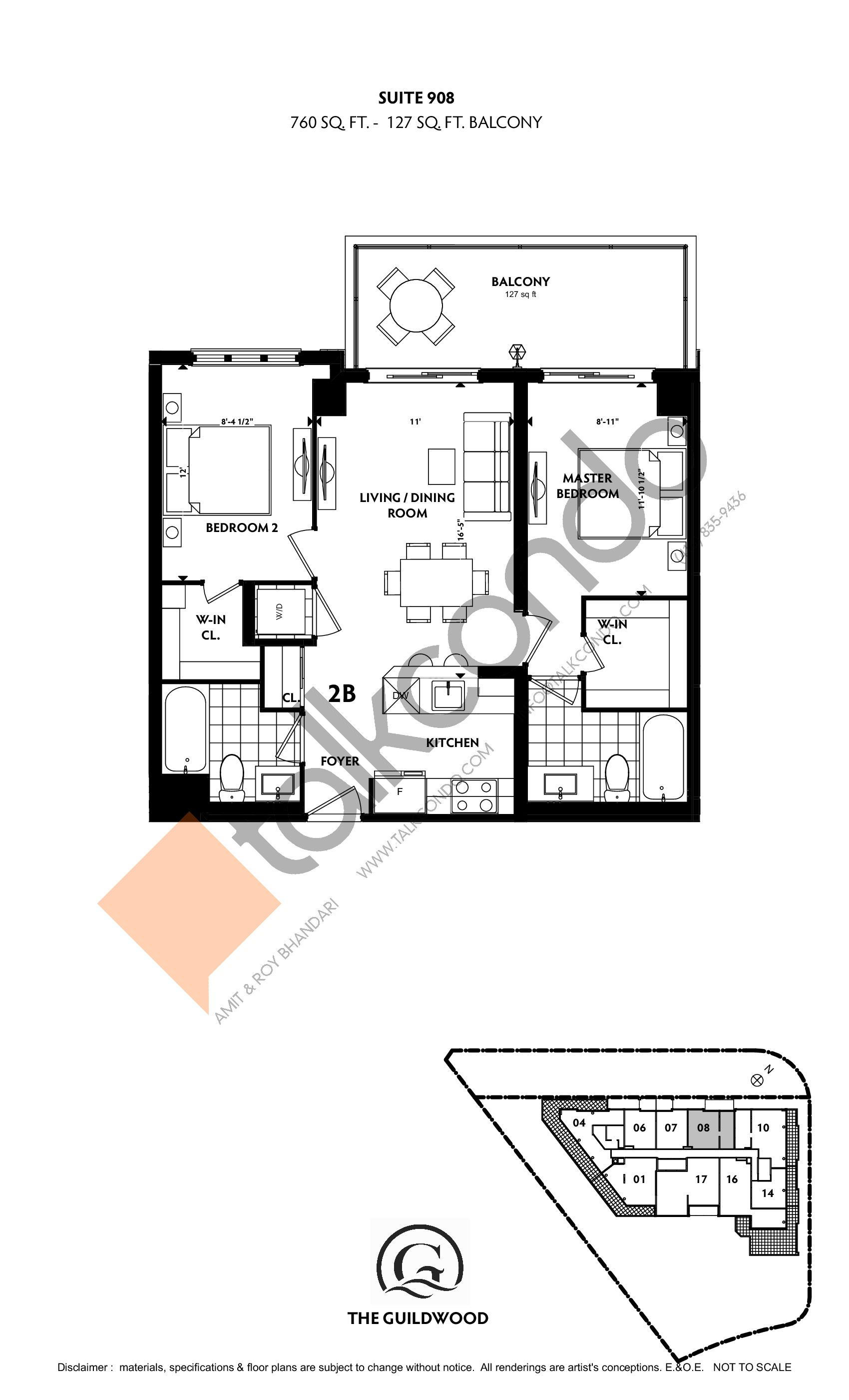 Suite 908 Floor Plan at Guildwood Condos - 760 sq.ft