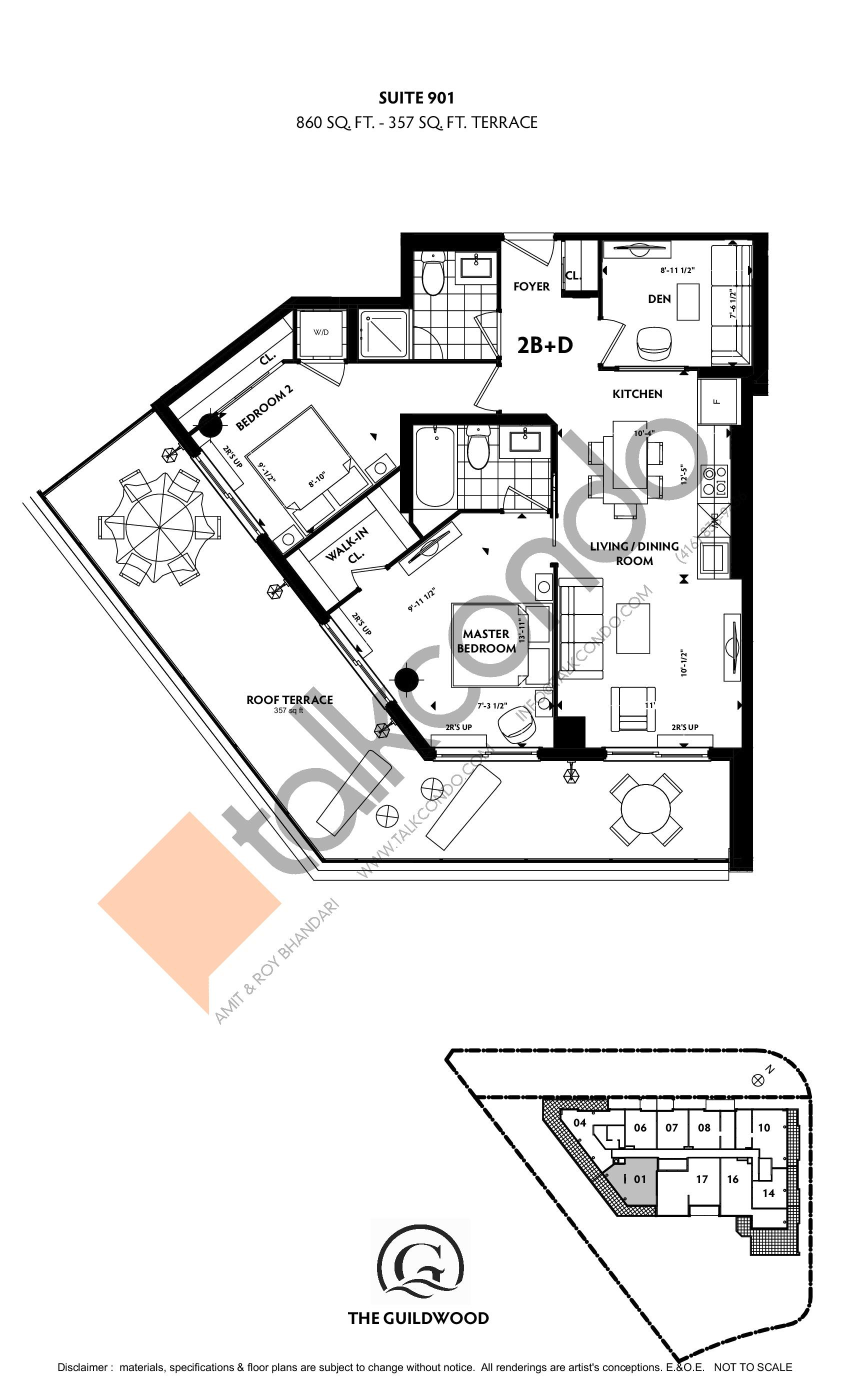 Suite 901 Floor Plan at Guildwood Condos - 860 sq.ft