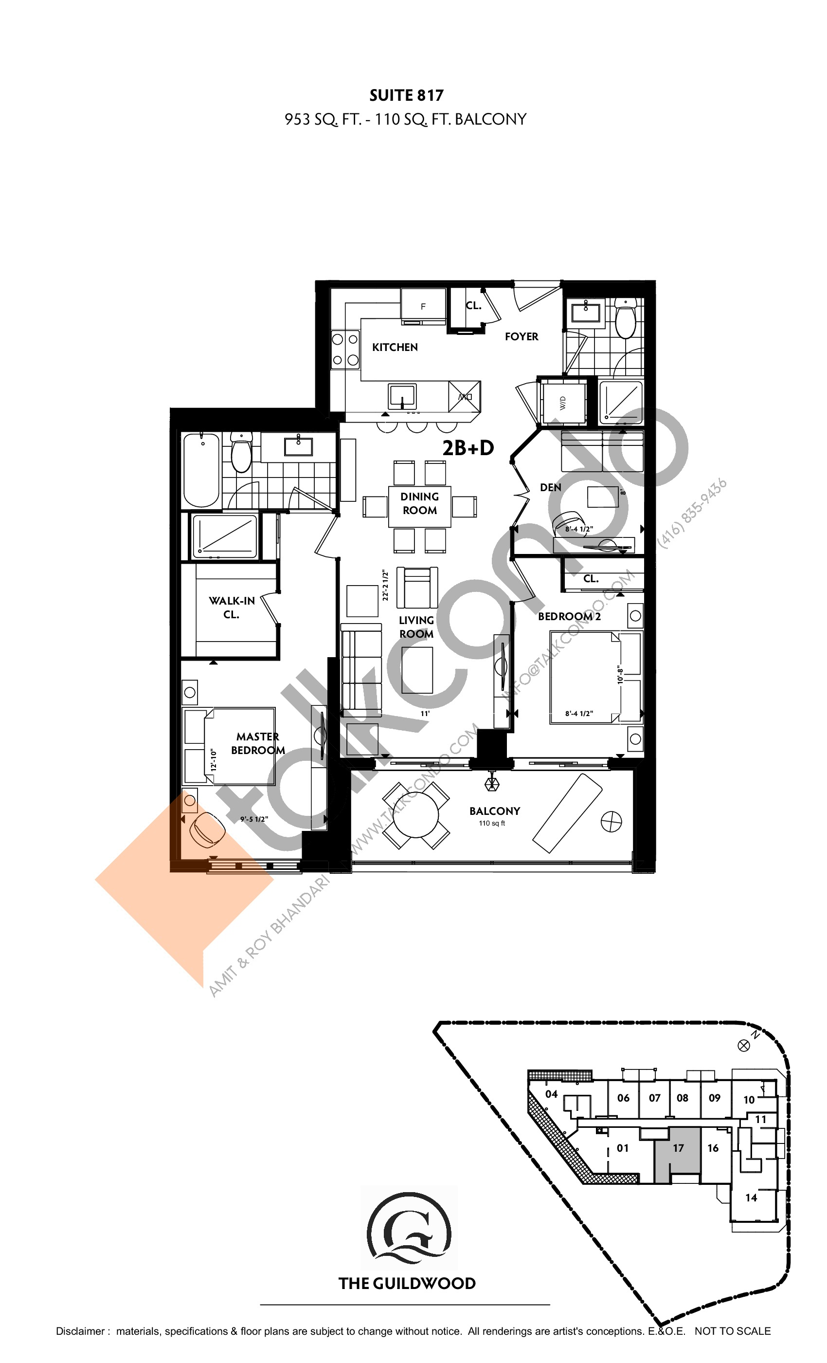 Suite 817 Floor Plan at Guildwood Condos - 953 sq.ft