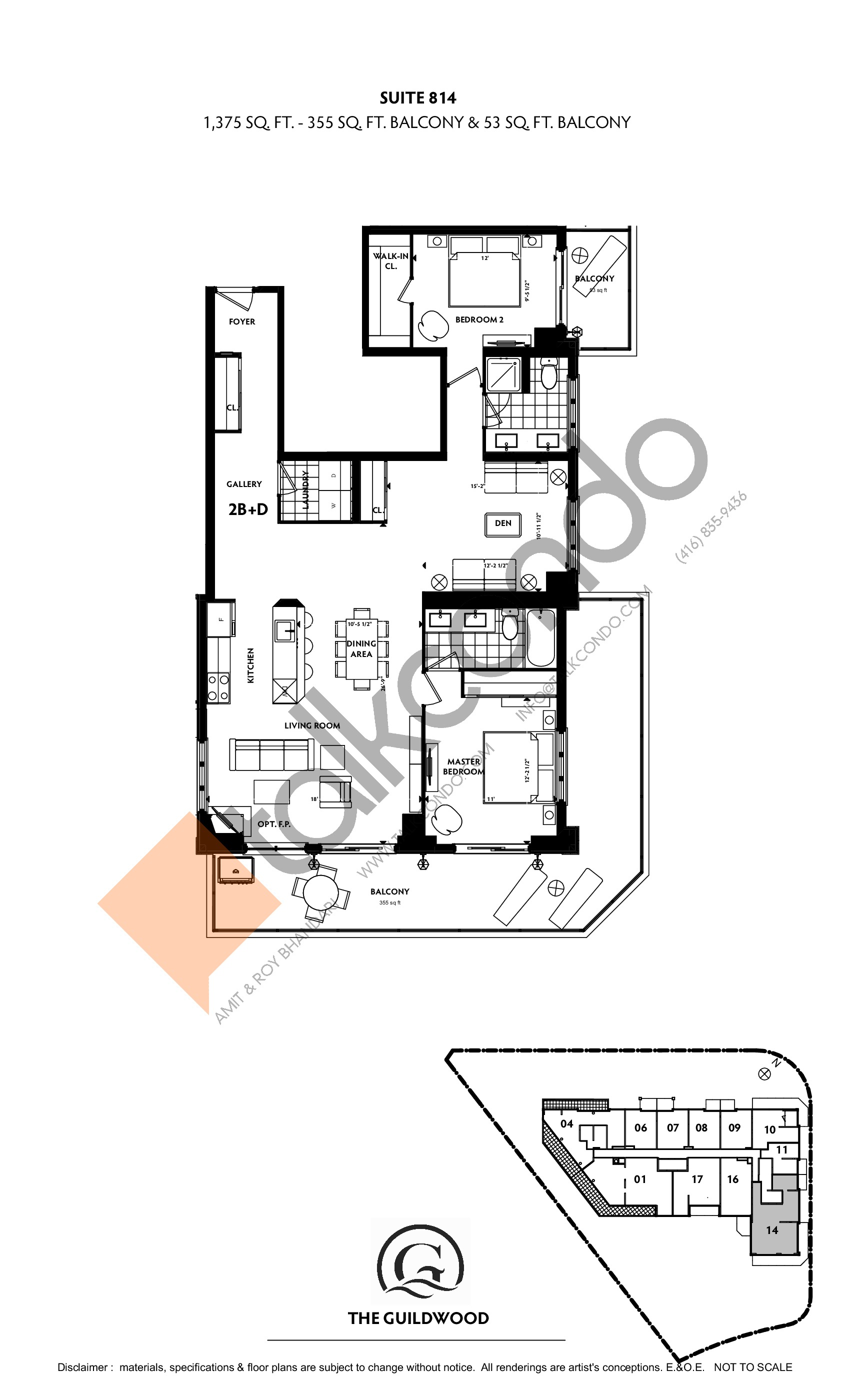 Suite 814 Floor Plan at Guildwood Condos - 1375 sq.ft
