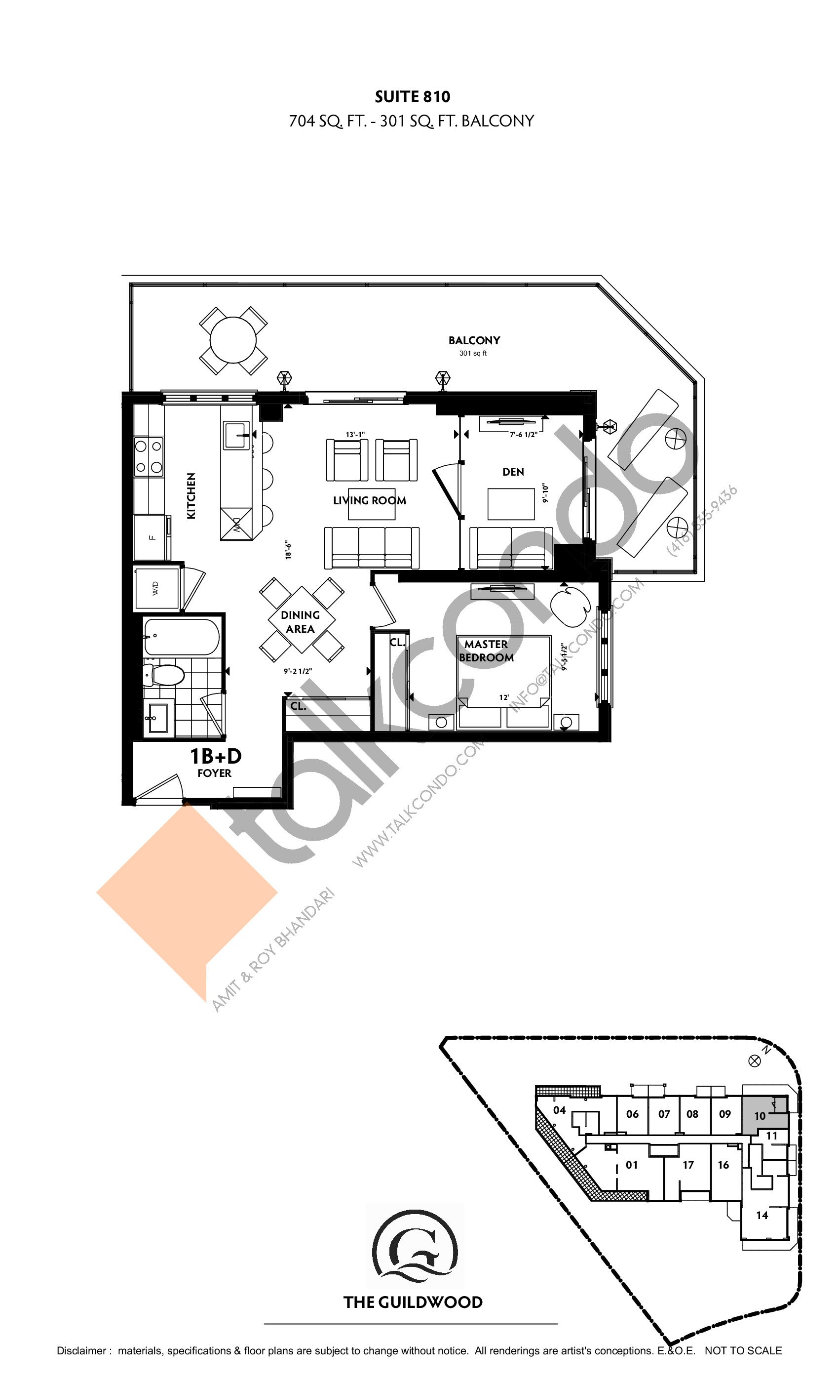 Suite 810 Floor Plan at Guildwood Condos - 704 sq.ft