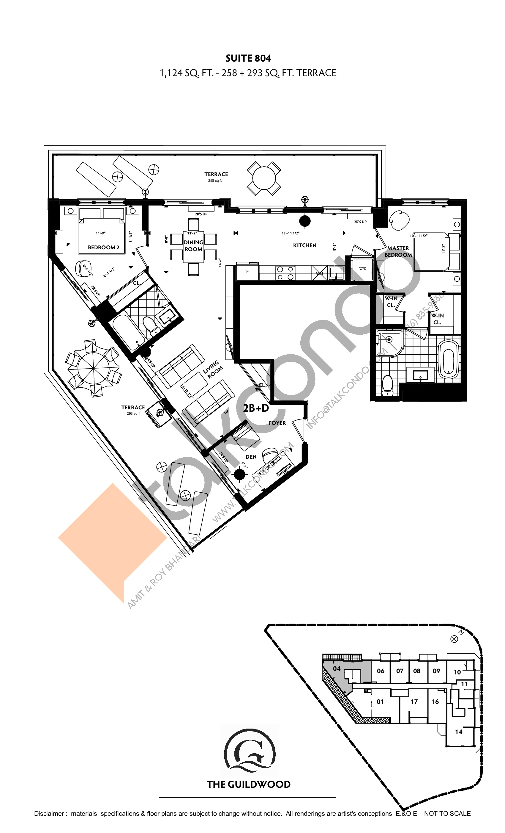 Suite 804 Floor Plan at Guildwood Condos - 1124 sq.ft