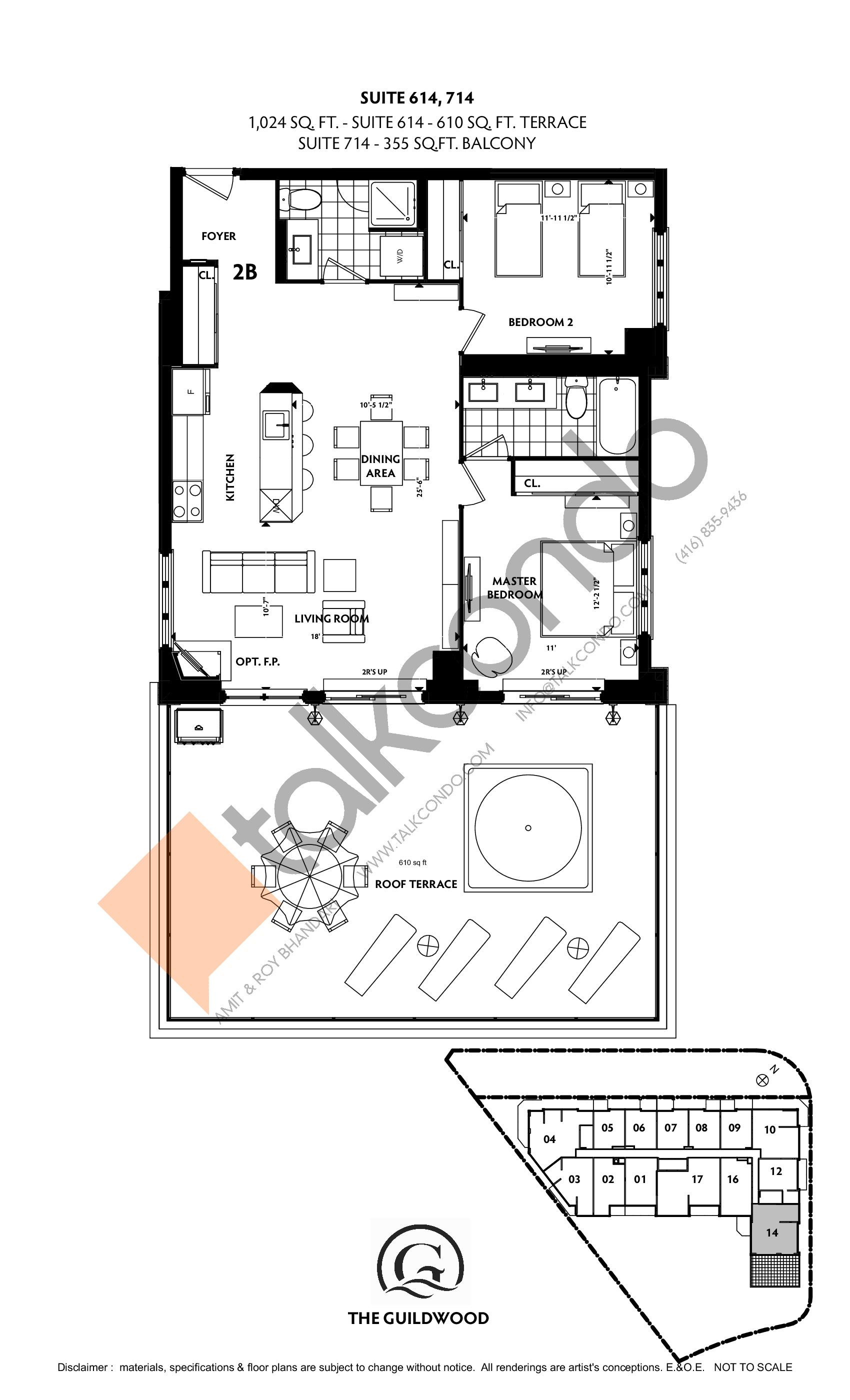 Suite 614, 714 Floor Plan at Guildwood Condos - 1024 sq.ft