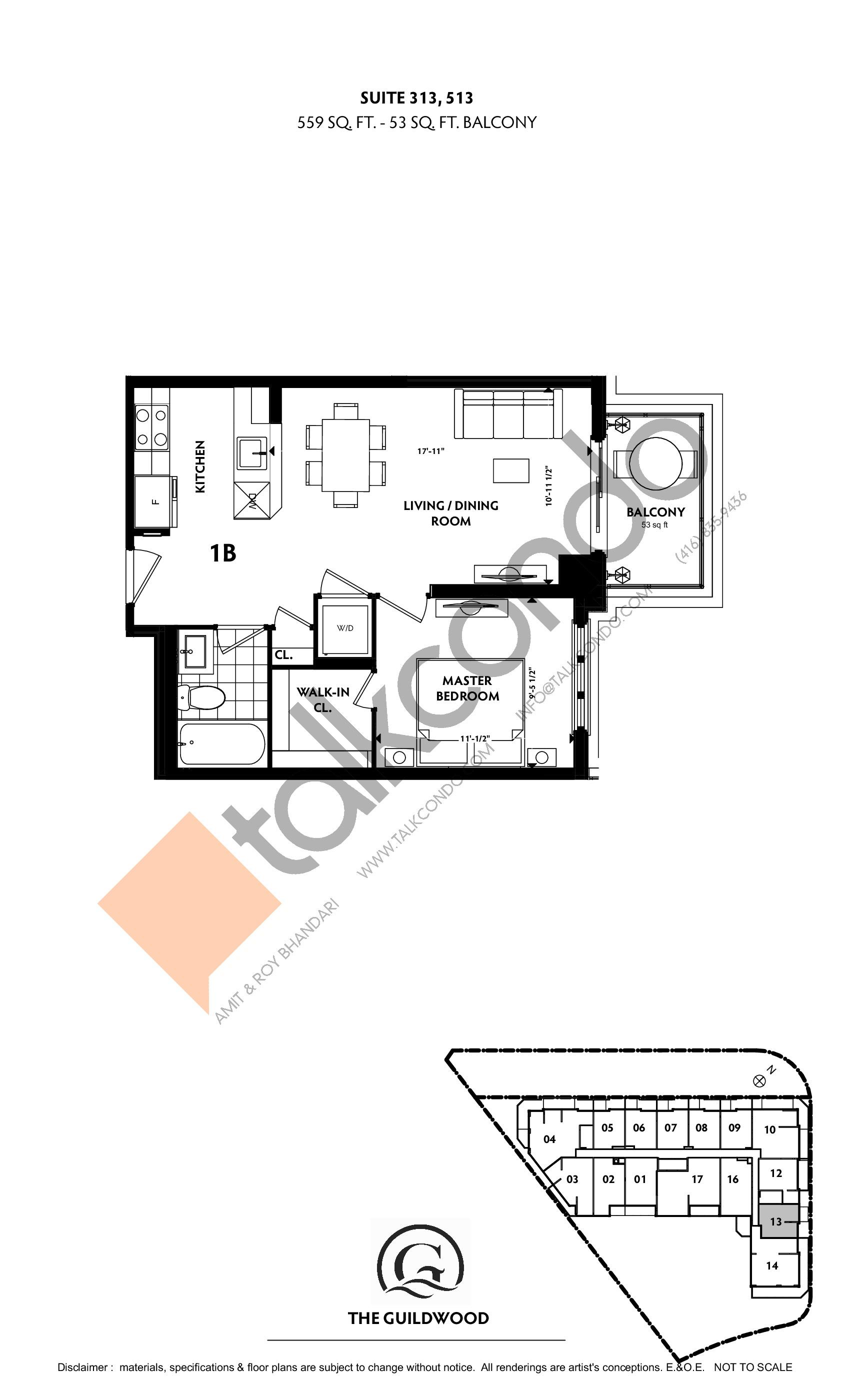 Suite 313, 513 Floor Plan at Guildwood Condos - 559 sq.ft
