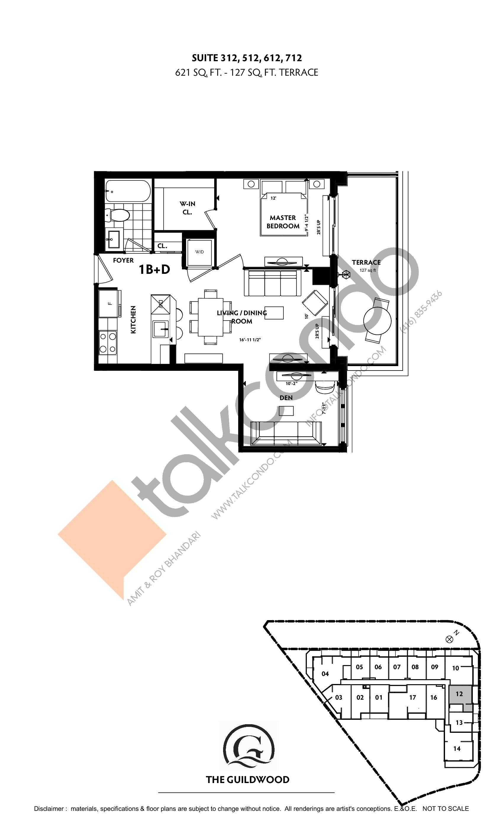 Suite 312, 512, 612, 712 Floor Plan at Guildwood Condos - 621 sq.ft