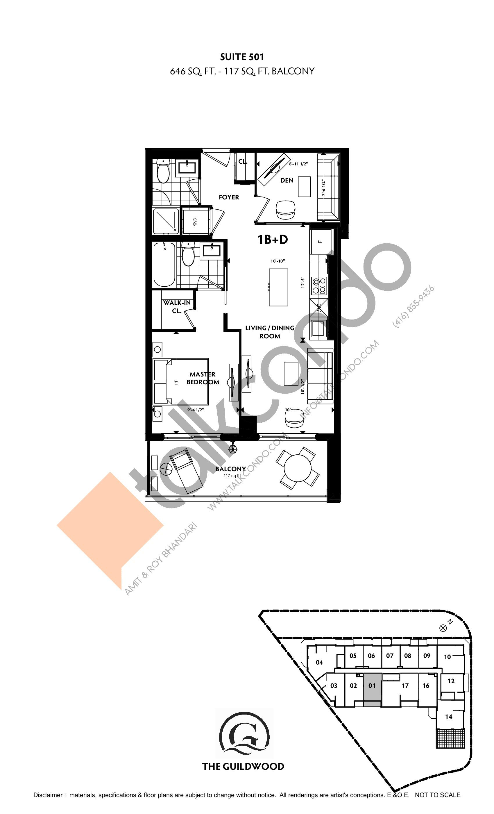 Suite 501 Floor Plan at Guildwood Condos - 646 sq.ft