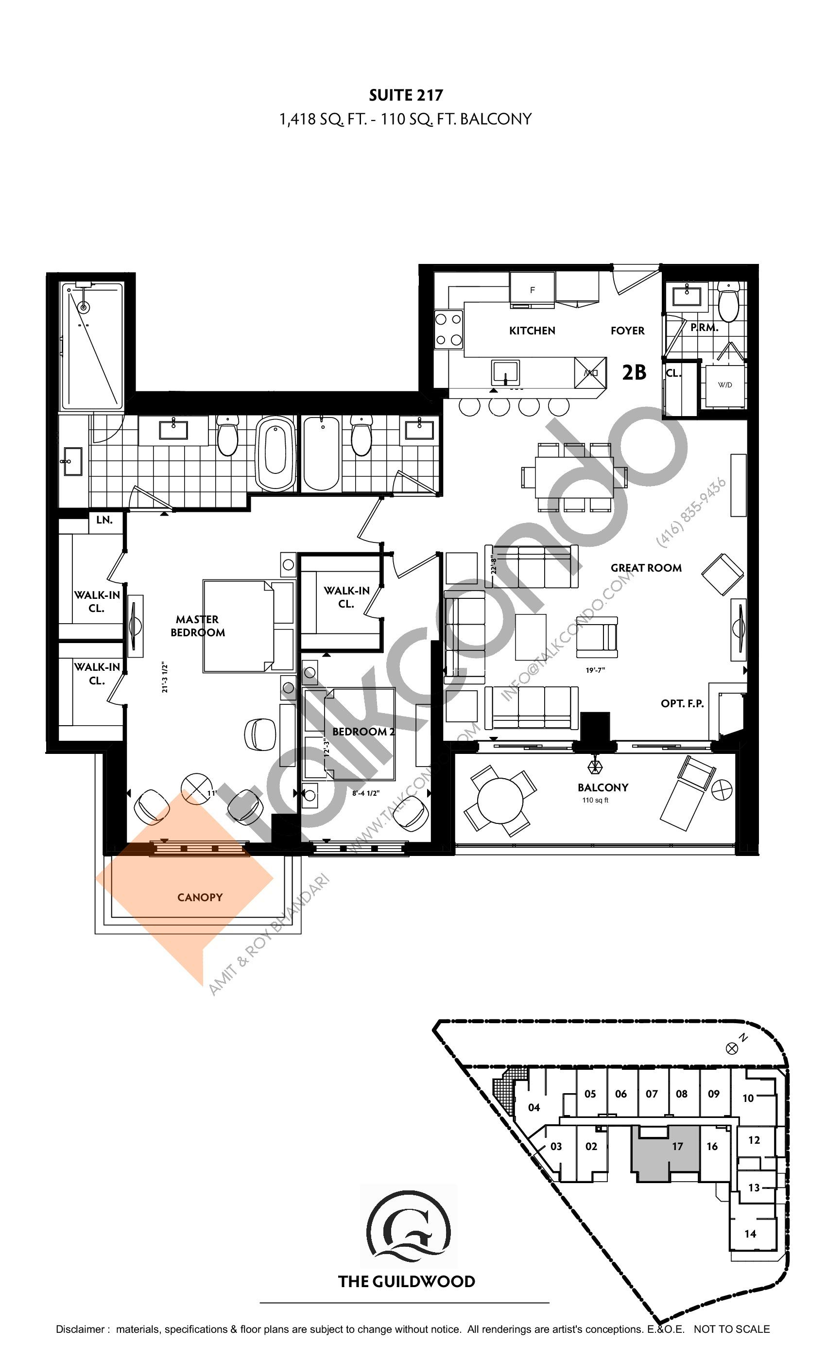 Suite 217 Floor Plan at Guildwood Condos - 1418 sq.ft