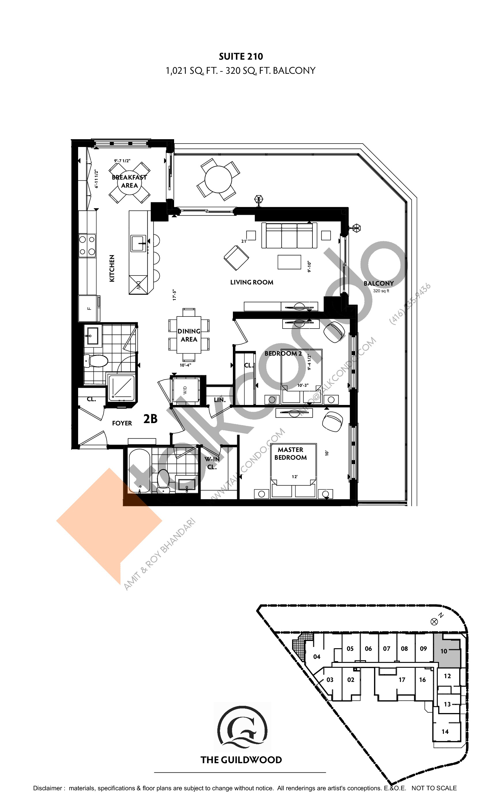 Suite 210 Floor Plan at Guildwood Condos - 1021 sq.ft