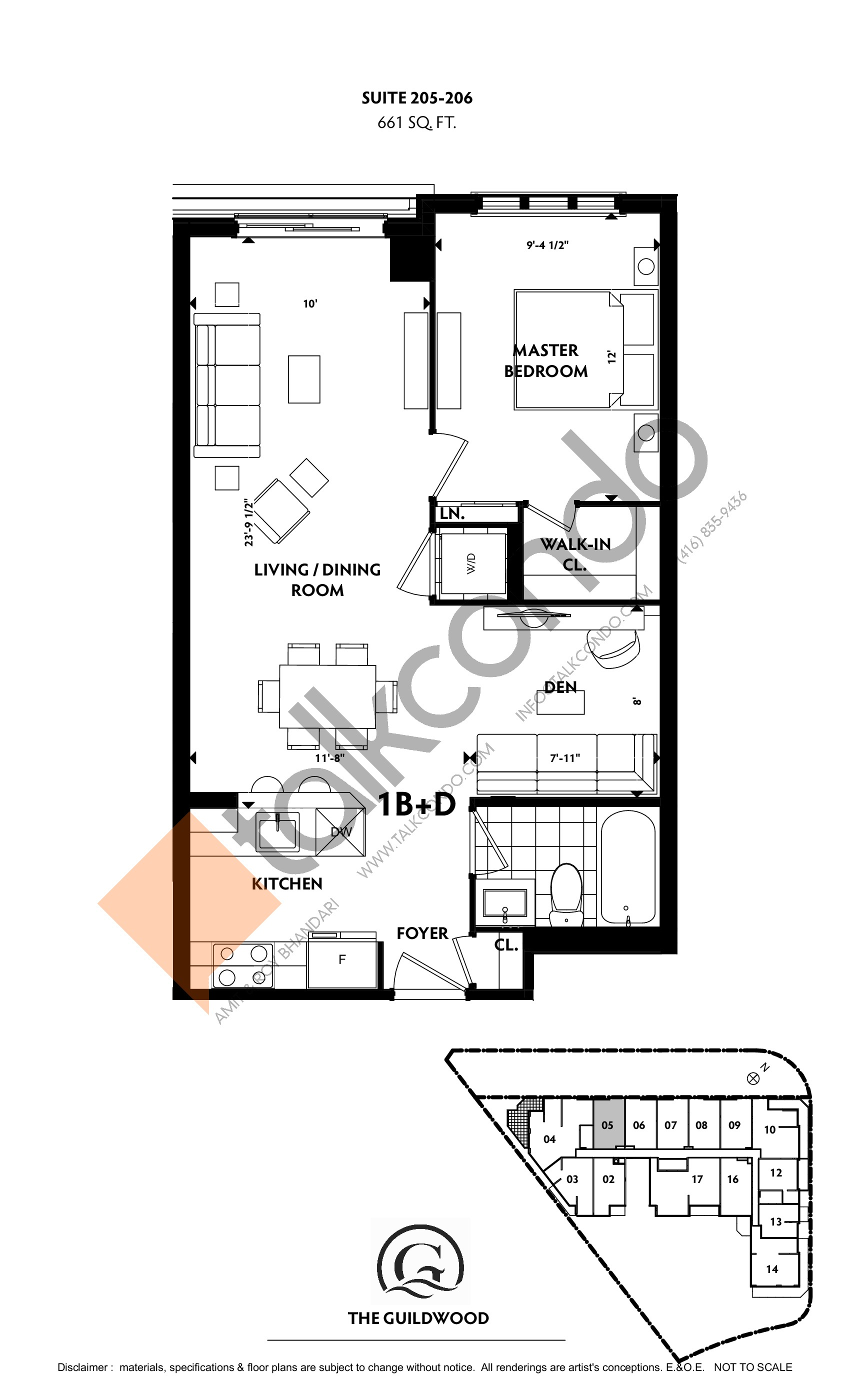 Suite 205, 206 Floor Plan at Guildwood Condos - 661 sq.ft