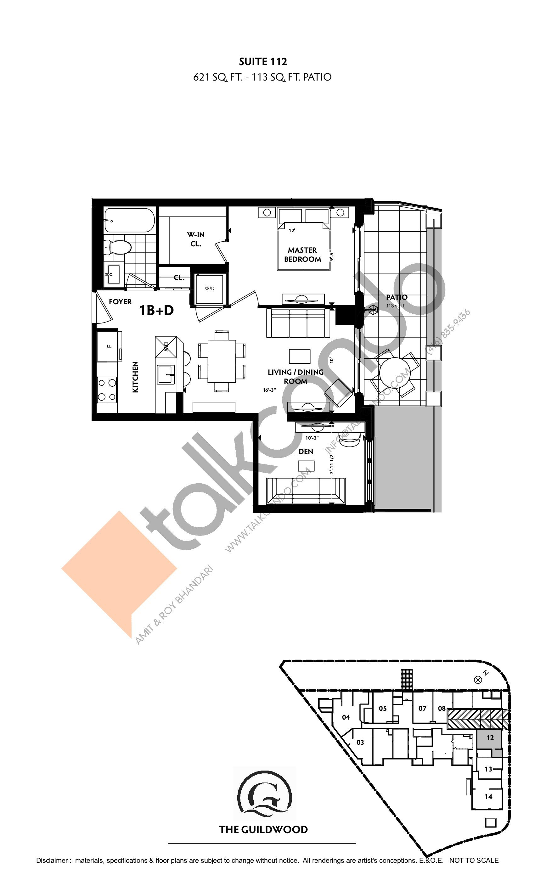Suite 112 Floor Plan at Guildwood Condos - 621 sq.ft