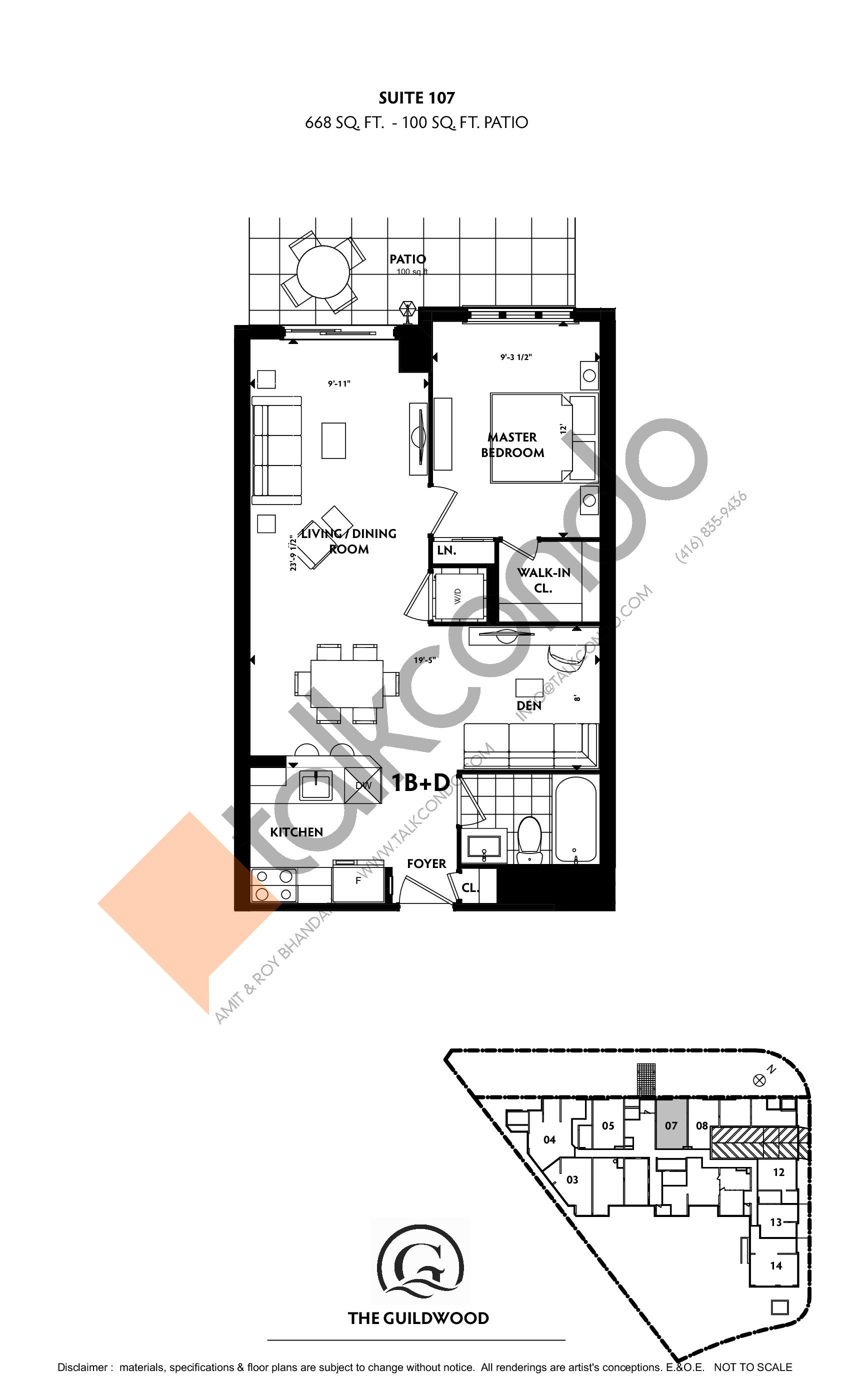 Suite 107 Floor Plan at Guildwood Condos - 668 sq.ft