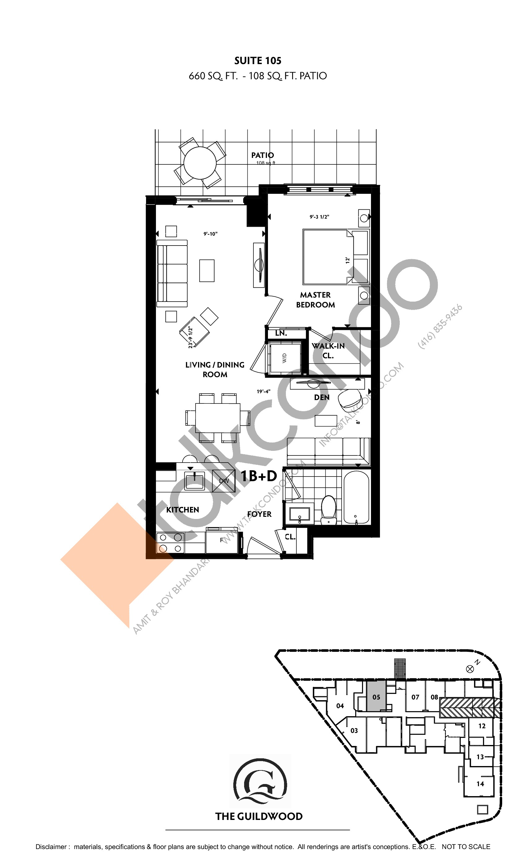 Suite 105 Floor Plan at Guildwood Condos - 660 sq.ft