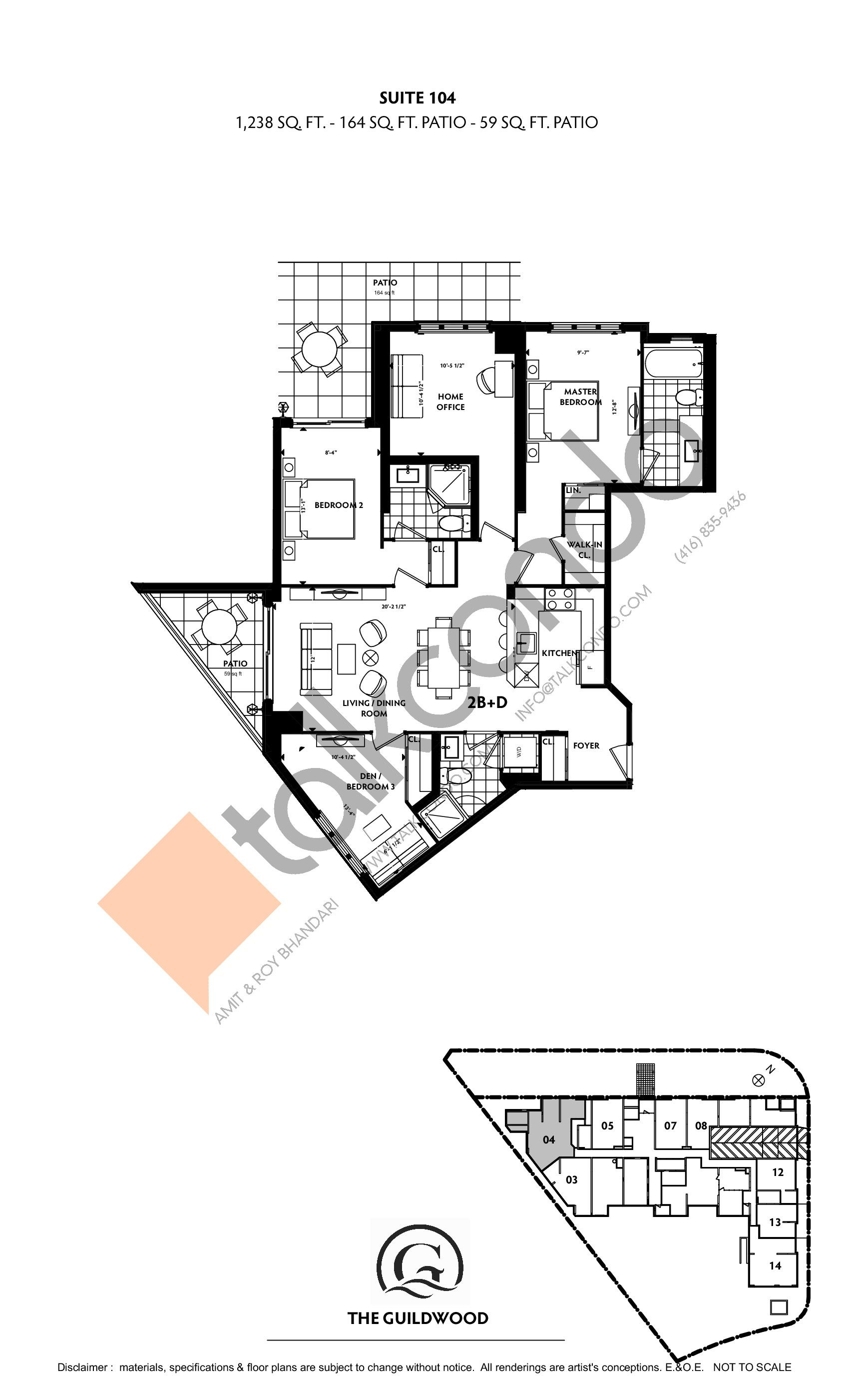 Suite 104 Floor Plan at Guildwood Condos - 1238 sq.ft