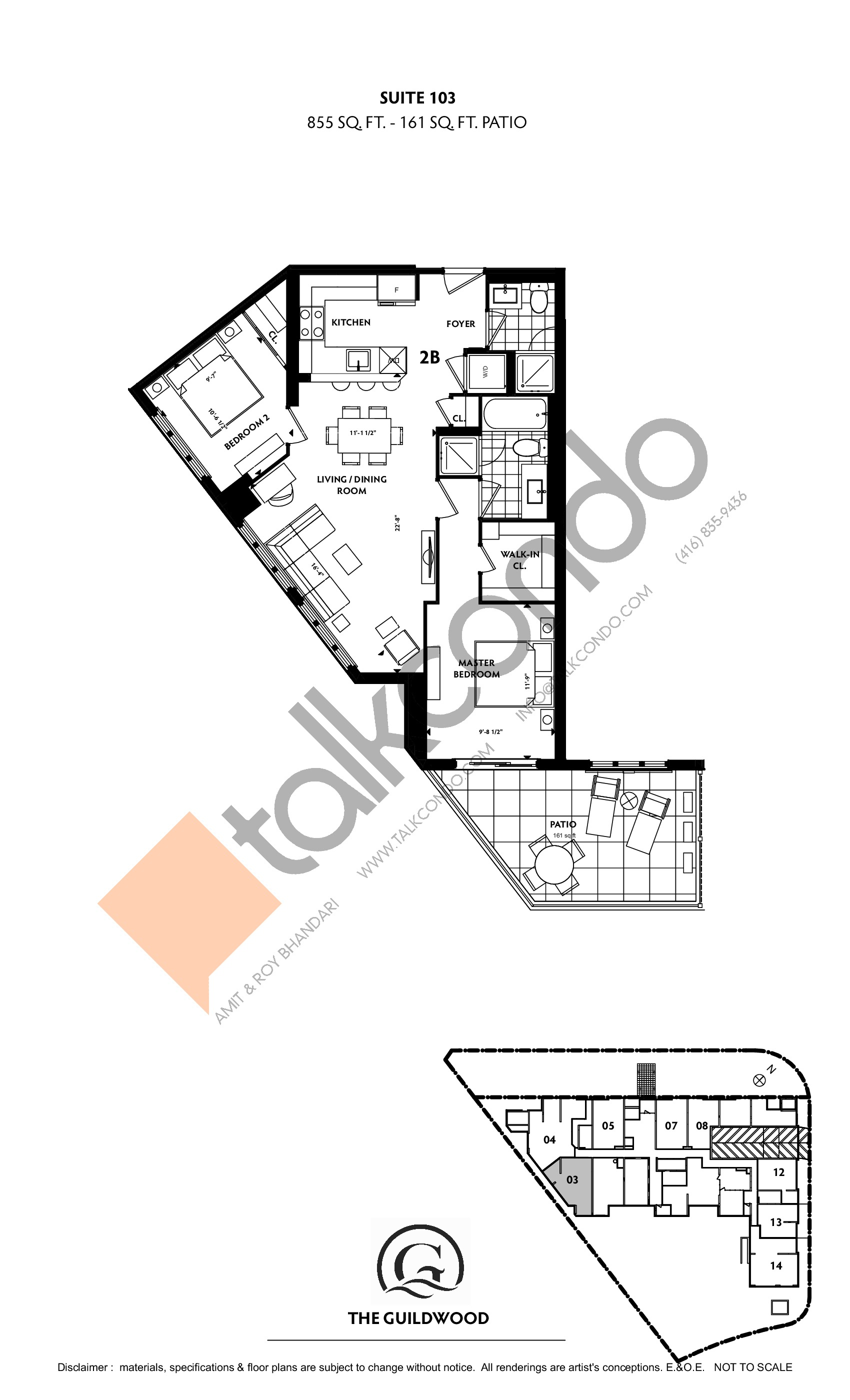 Suite 103 Floor Plan at Guildwood Condos - 855 sq.ft